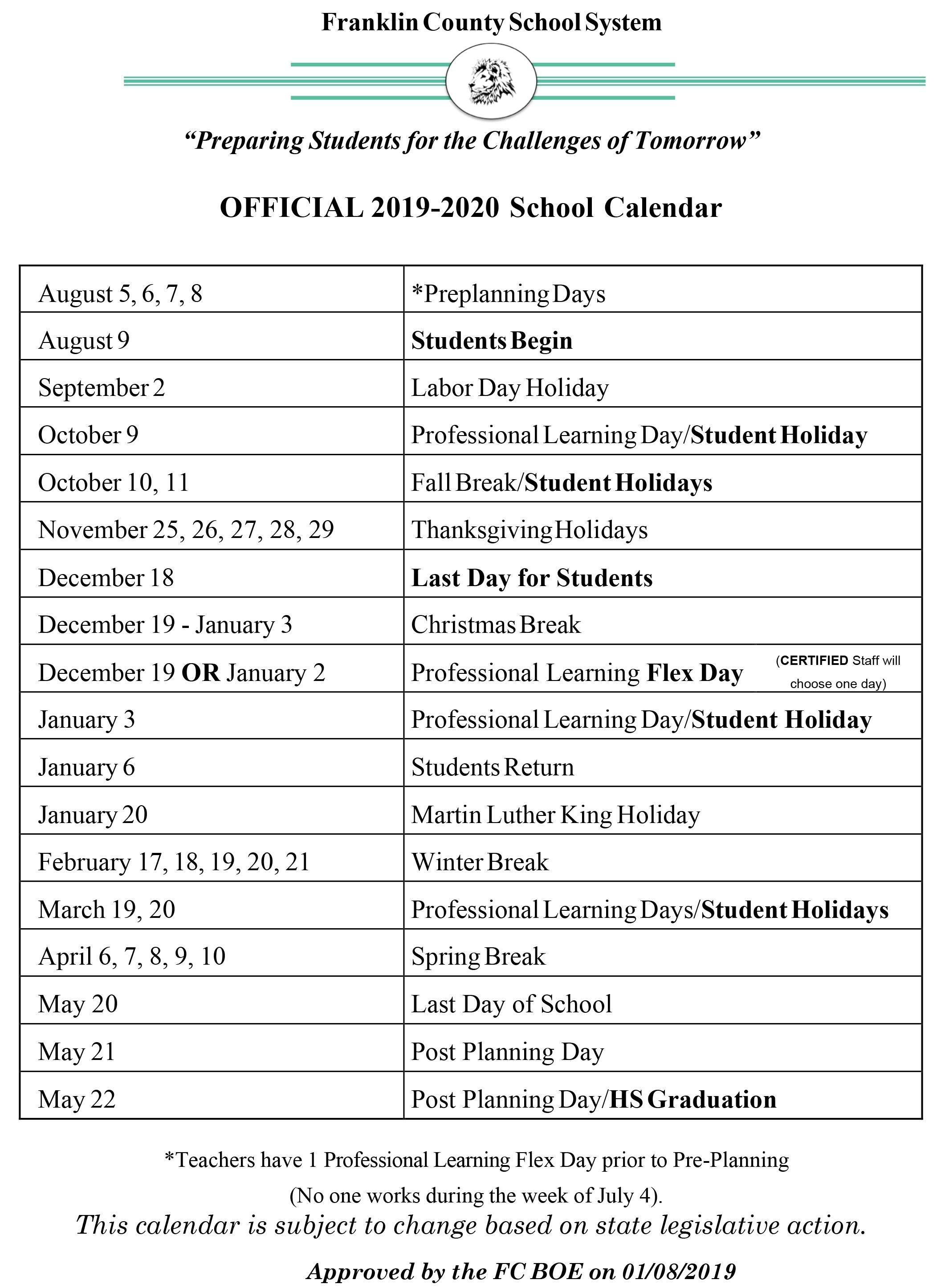 School Board Sets 170-Day Calendar For 2019-20 Year | Franklin Dashing November 3 2020 Calendar