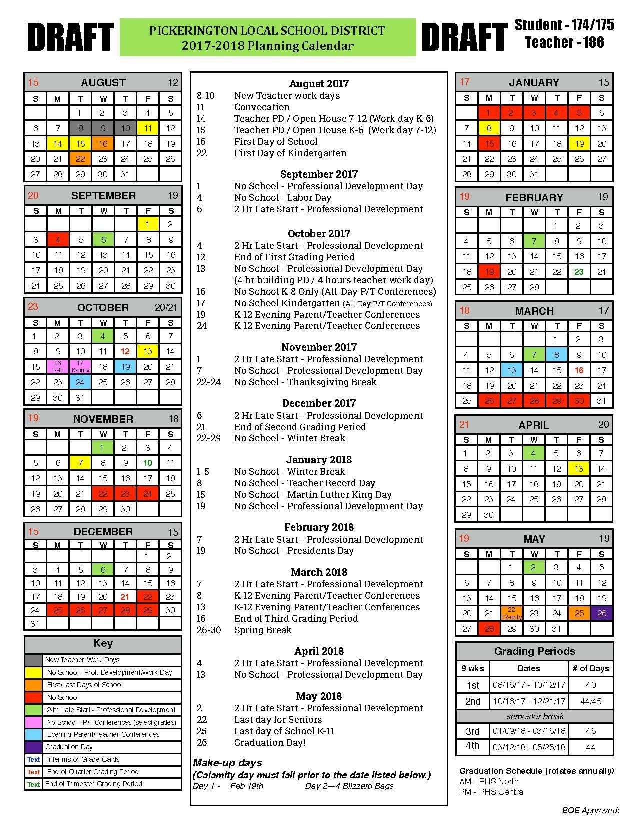 School Board To Consider 2017-18 Calendar January 9 - Pickerington Incredible District 2 School Calendar