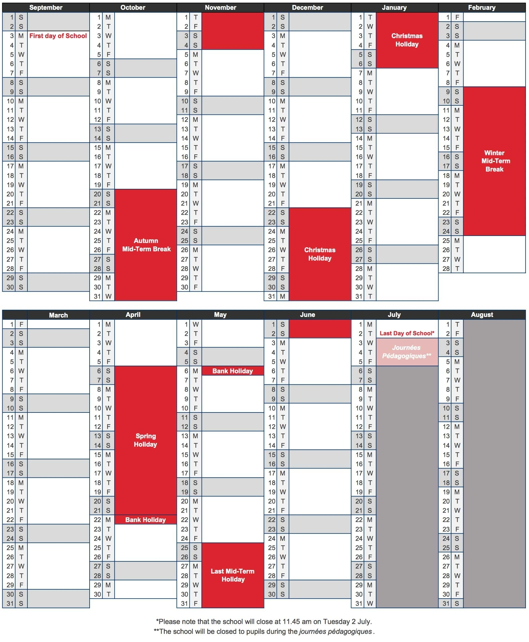 School Calendar 2018-2019 – Ecole Jeannine Manuel – London L'ecole Bilingue School Calendar