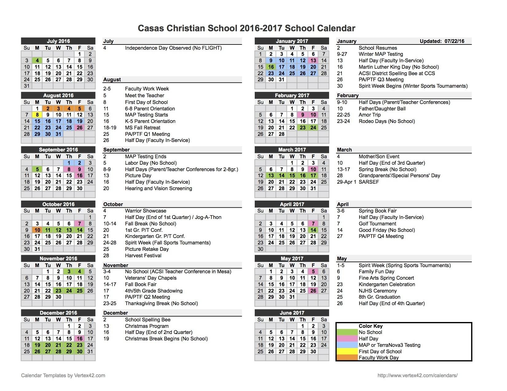 School Calendar - Casas Christian School Exceptional 9 Week School Calendar