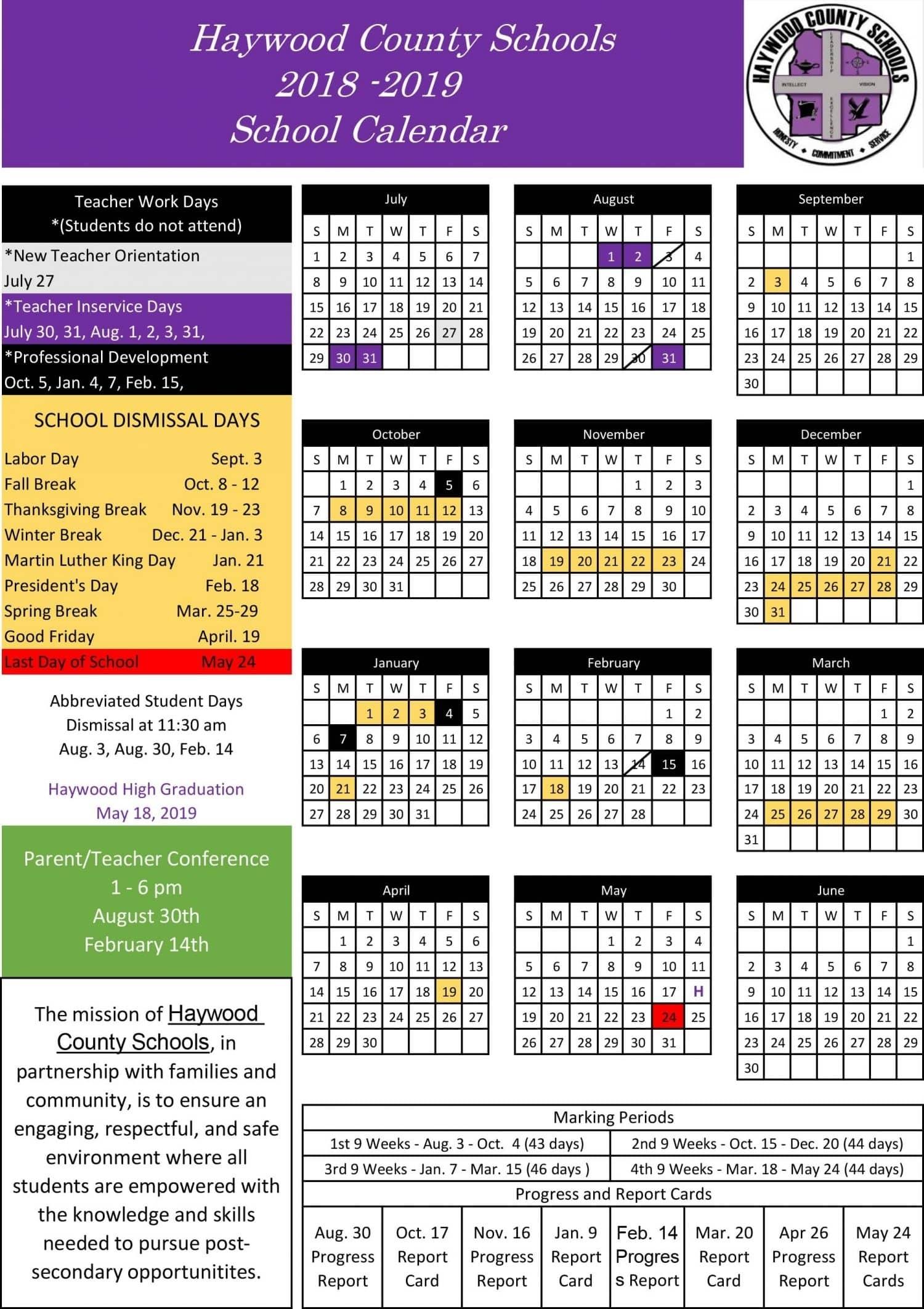 School Calendar | Haywood County Schools Perky Anderson 2 School Calendar