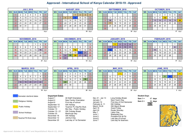 School Calendar - International School Of Kenya Calendar Holidays In Kenya