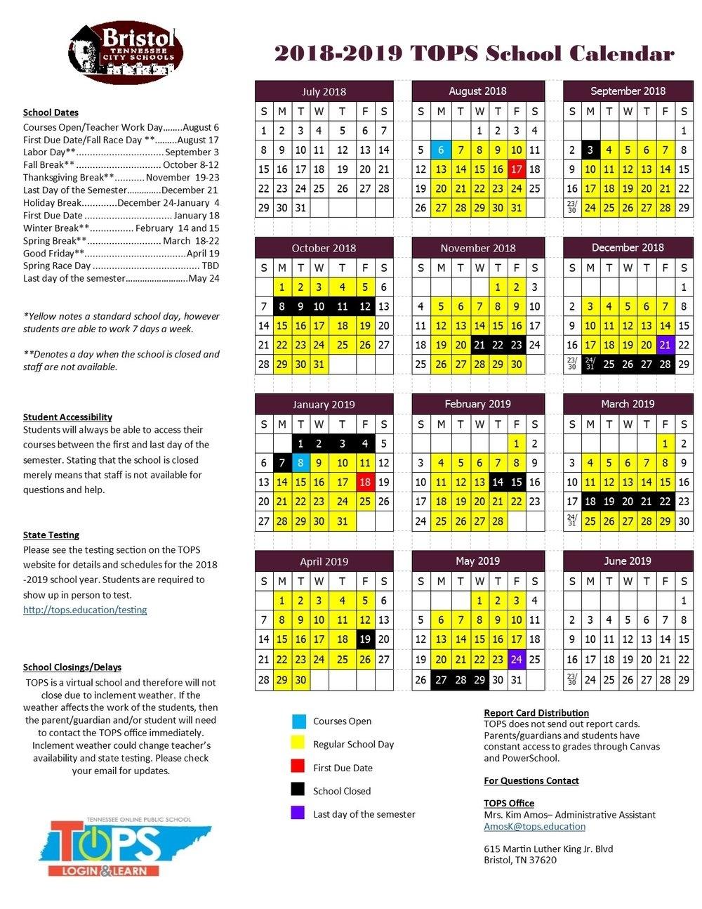 School Calendar — Tennessee Online Public School Exceptional 9 Week School Calendar