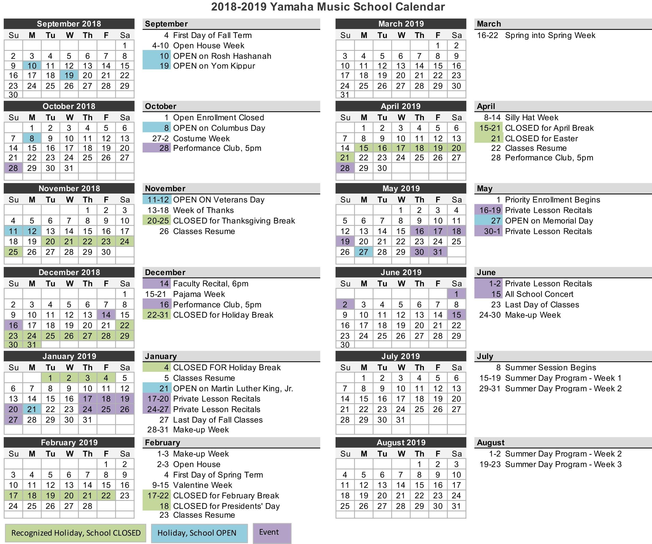 School Calendar | Yamaha Music School School Calendar Lexington Ma