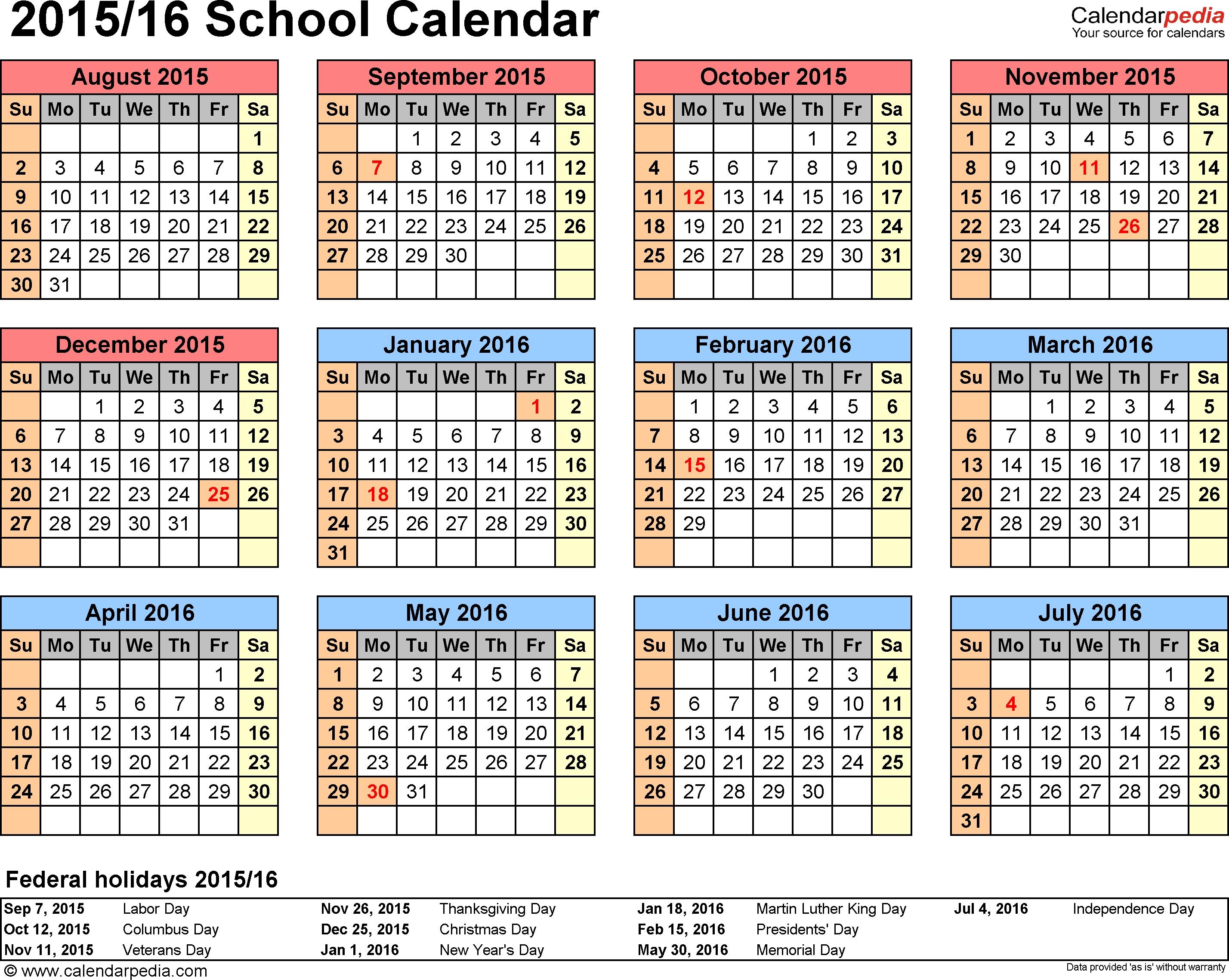 School Calendars 2015/2016 As Free Printable Word Templates Perky Calendar For School Year