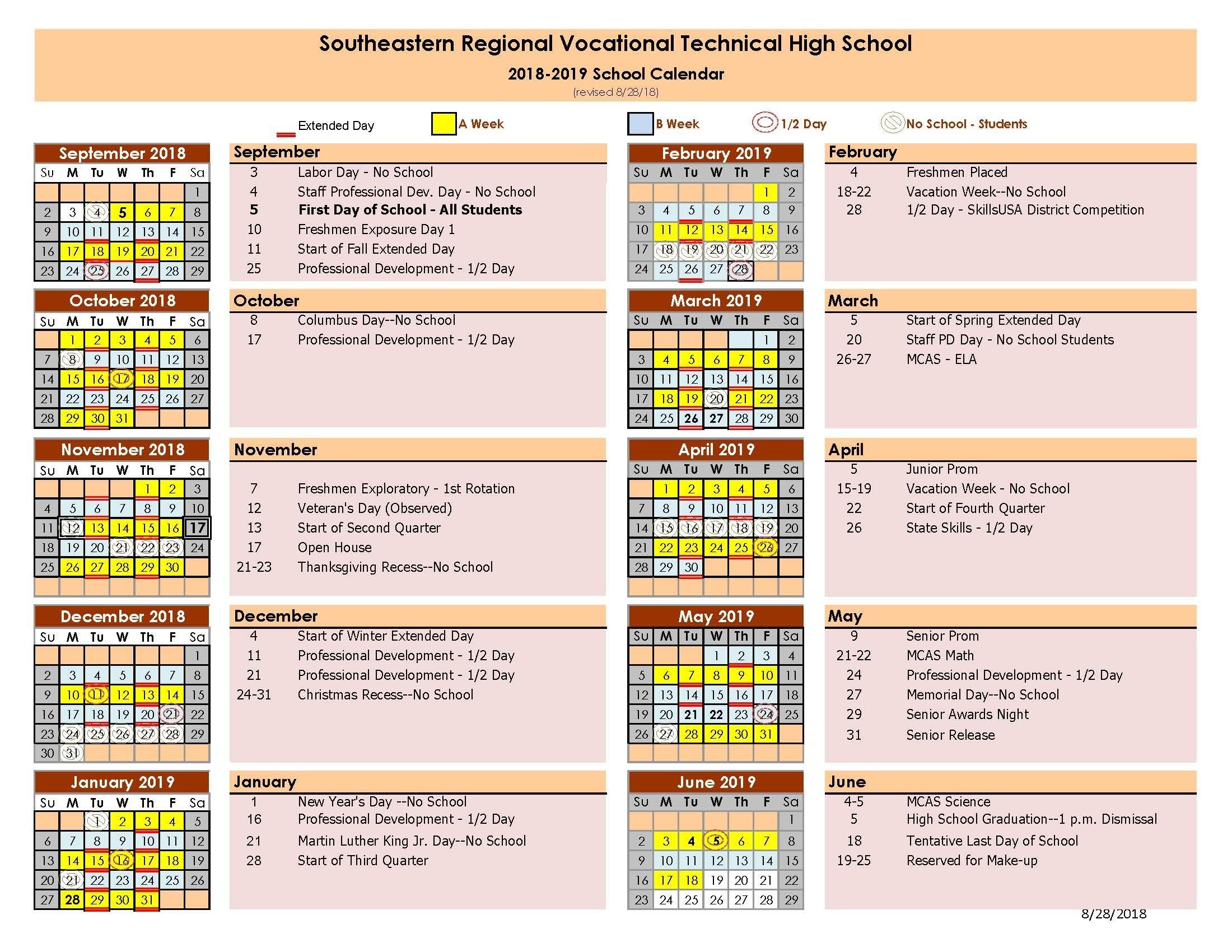 School Day Calendar | Southeastern Regional Region 6 School Calendar