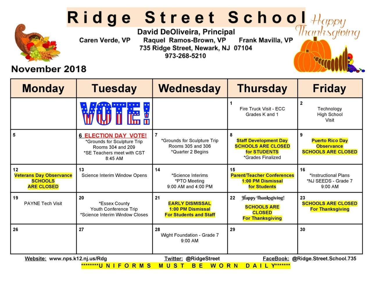 School Monthly Calendar - Ridge Street Challenger 7 School Calendar
