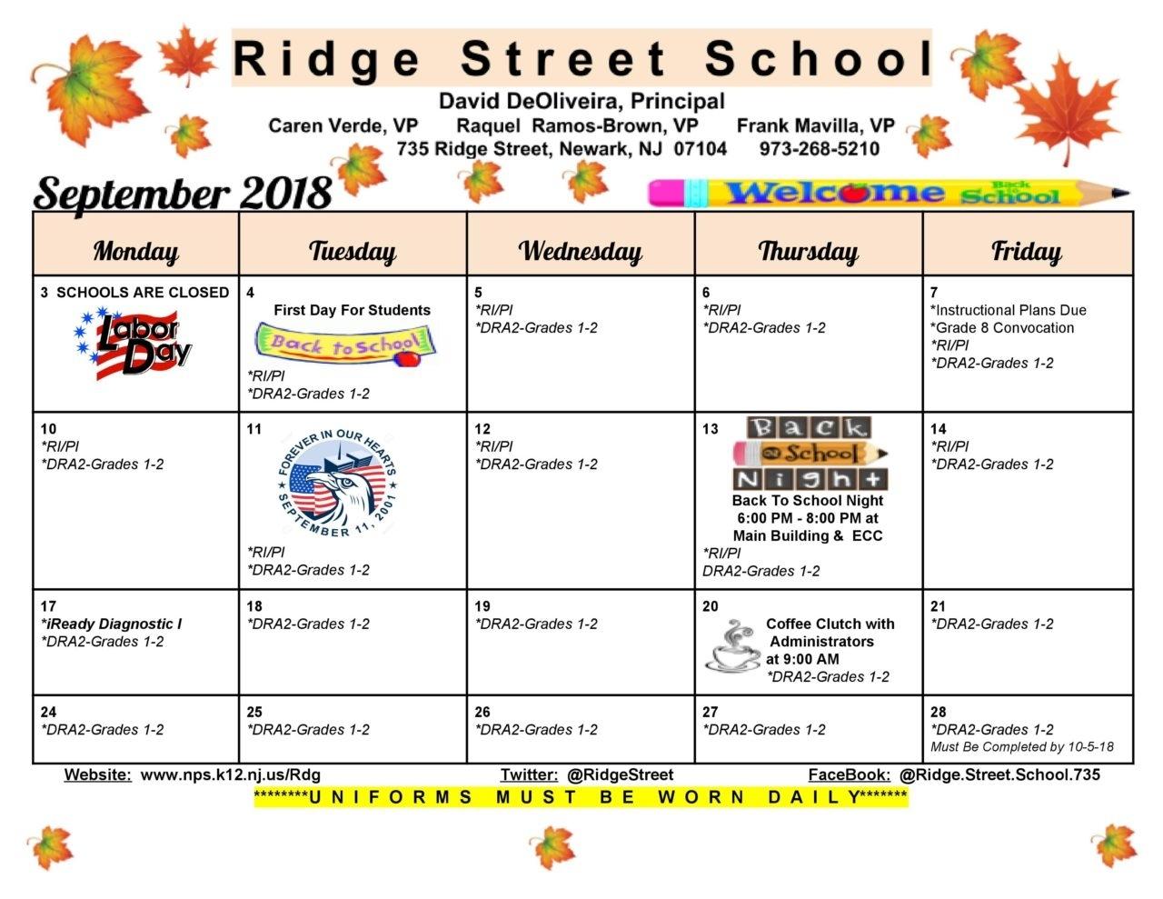 School Monthly Calendar - Ridge Street Exceptional Challenger 7 School Calendar