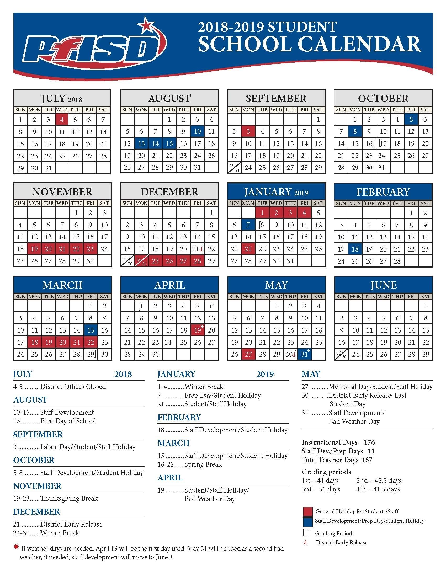 School Year Calendar / 2018-2019 District Calendar Incredible School Calendar District 2