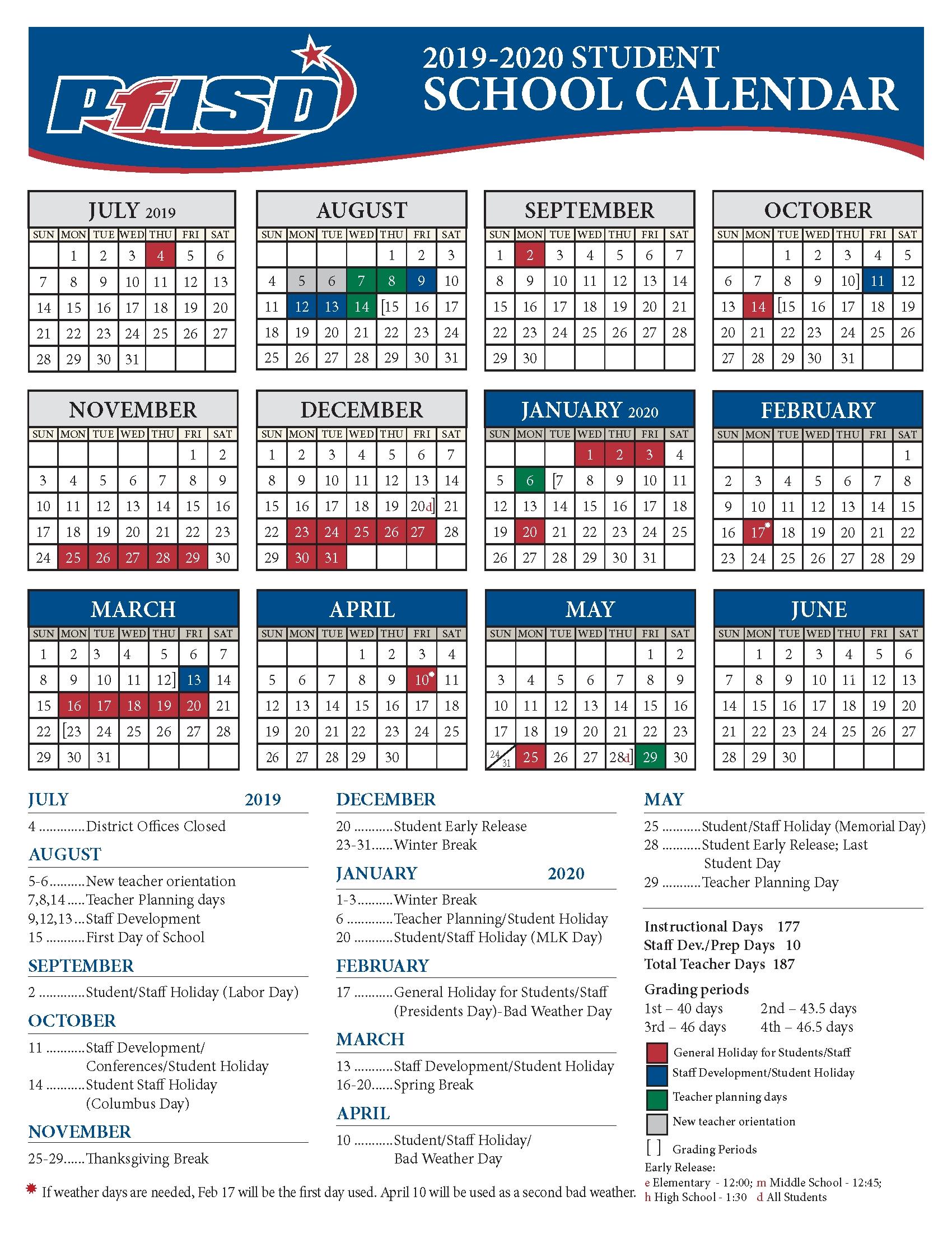 School Year Calendar / 2019-2020 District Calendar Perky 2020 Calendar School Holidays