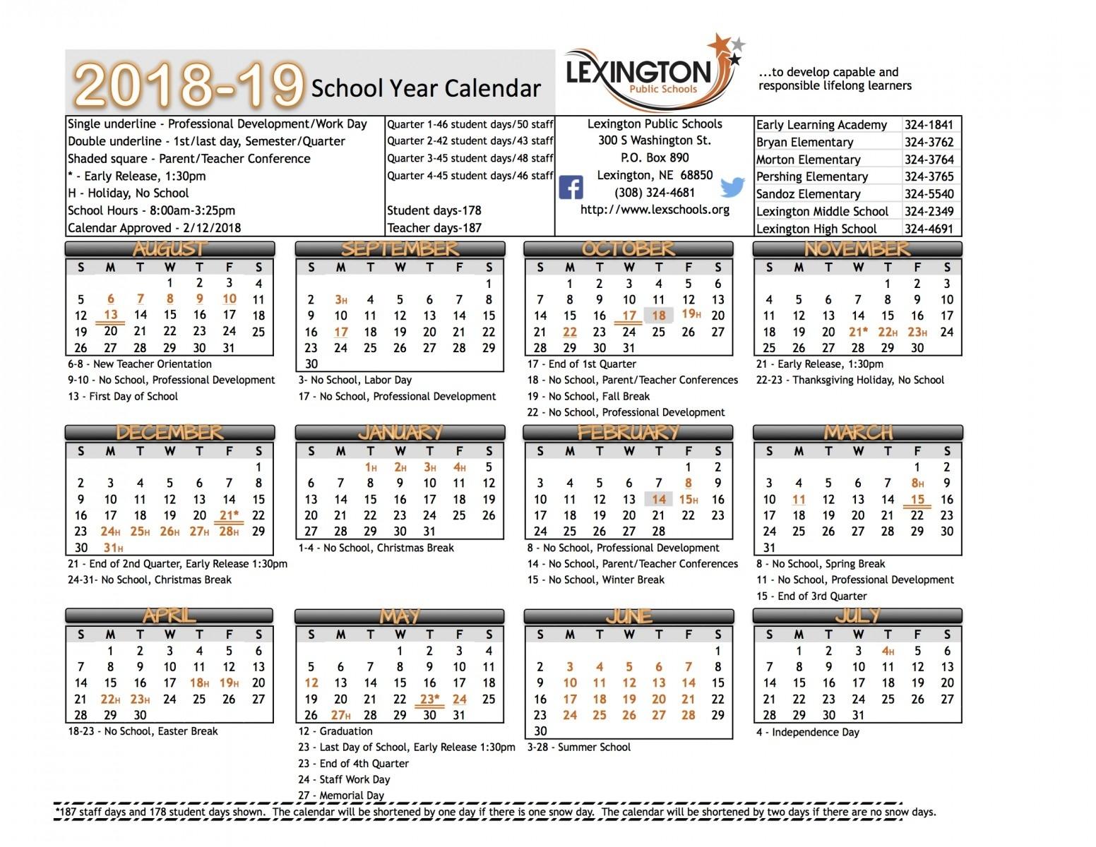 School Year Calendar - Lexington Public Schools Calendar For School Year