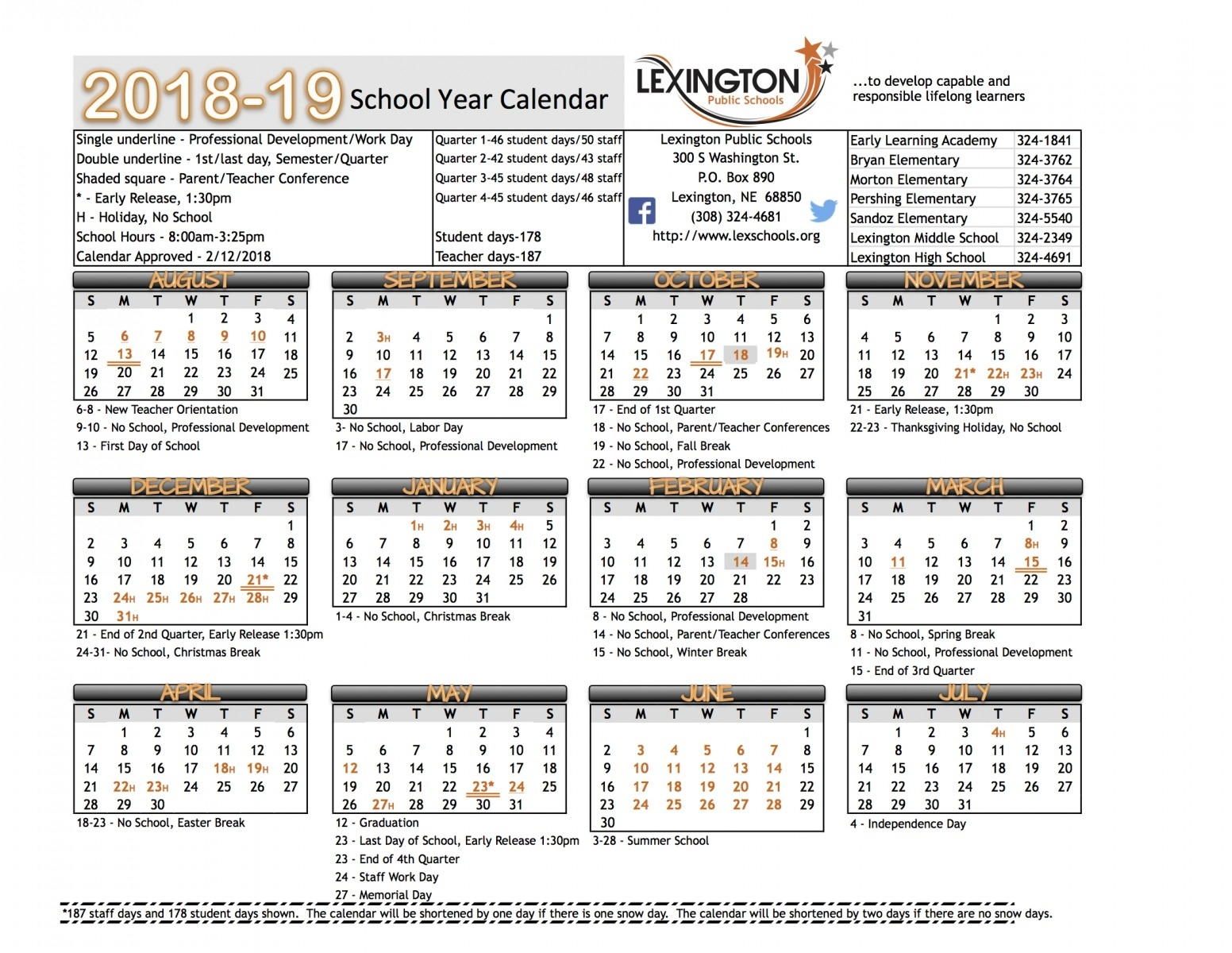 School Year Calendar - Lexington Public Schools Exceptional Lexington 1 School Calendar