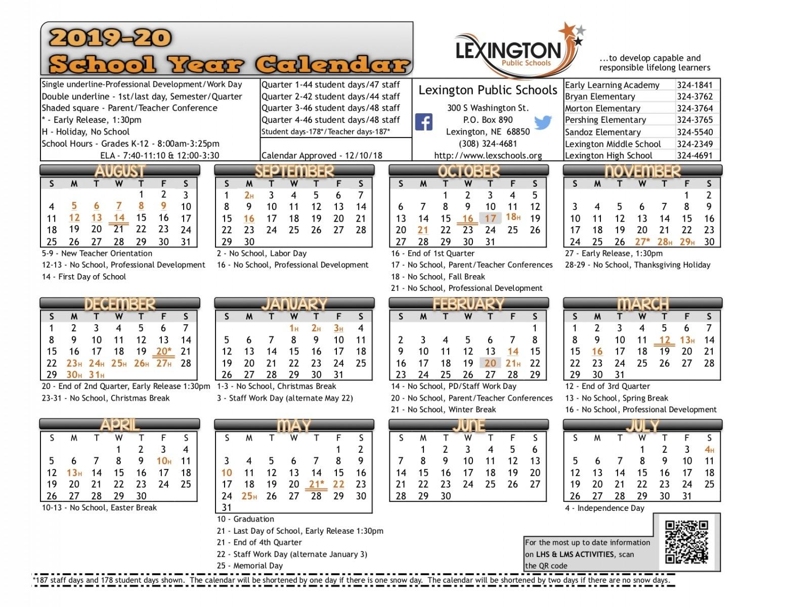 School Year Calendar - Lexington Public Schools Lexington 1 School Calendar