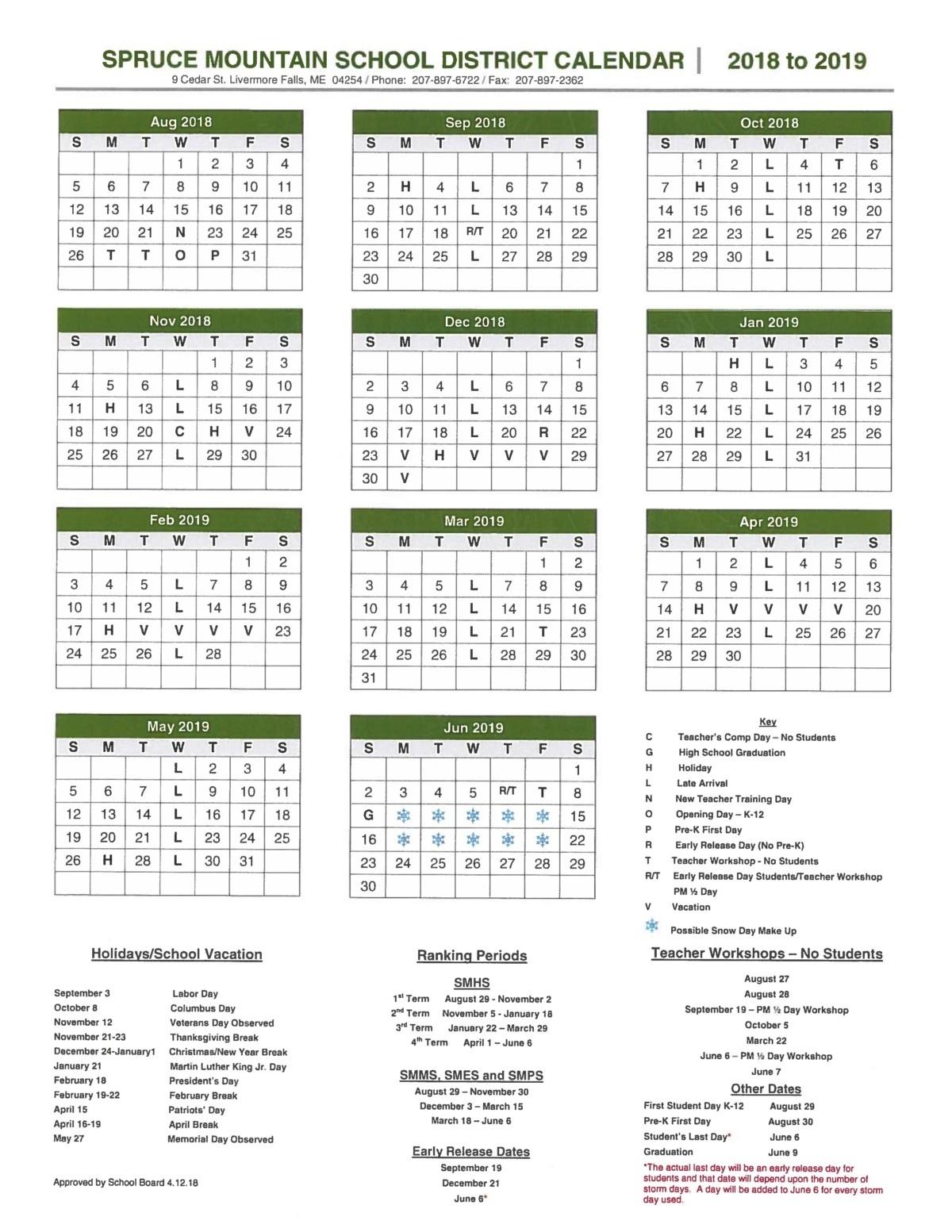 School Year Calendar - Spruce Mountain School District Calendar For School Year