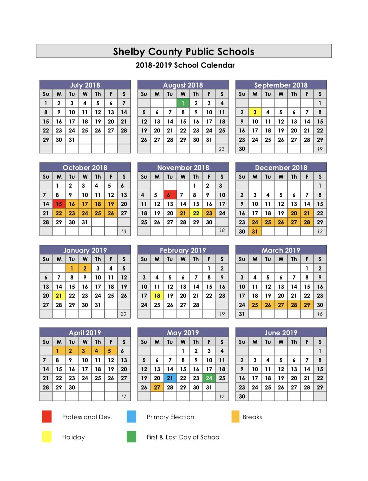 School Year Calendars / 2018-2019 School Calendar Calendar For School Year