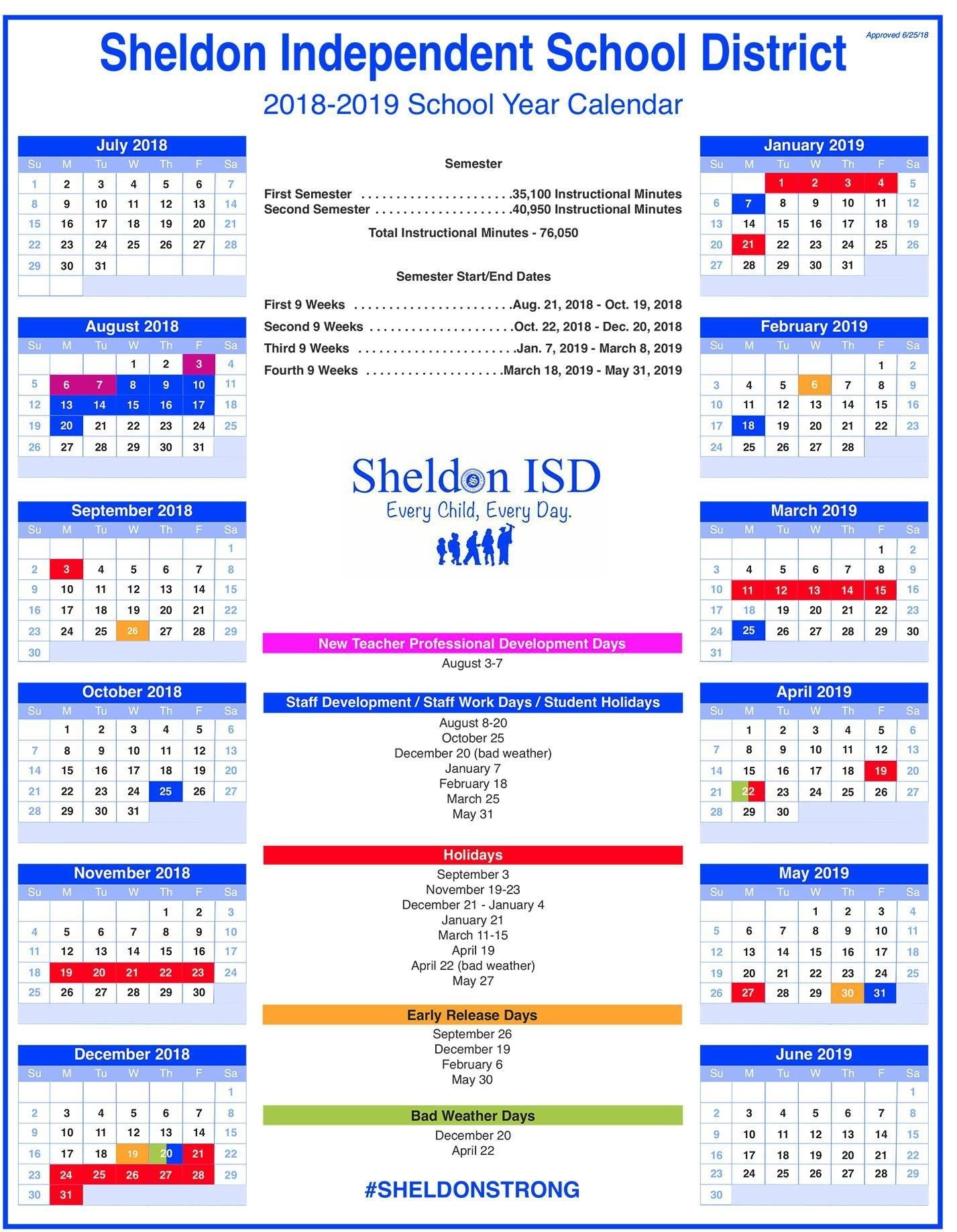Sheldon Isd Incredible L'ecole Bilingue School Calendar