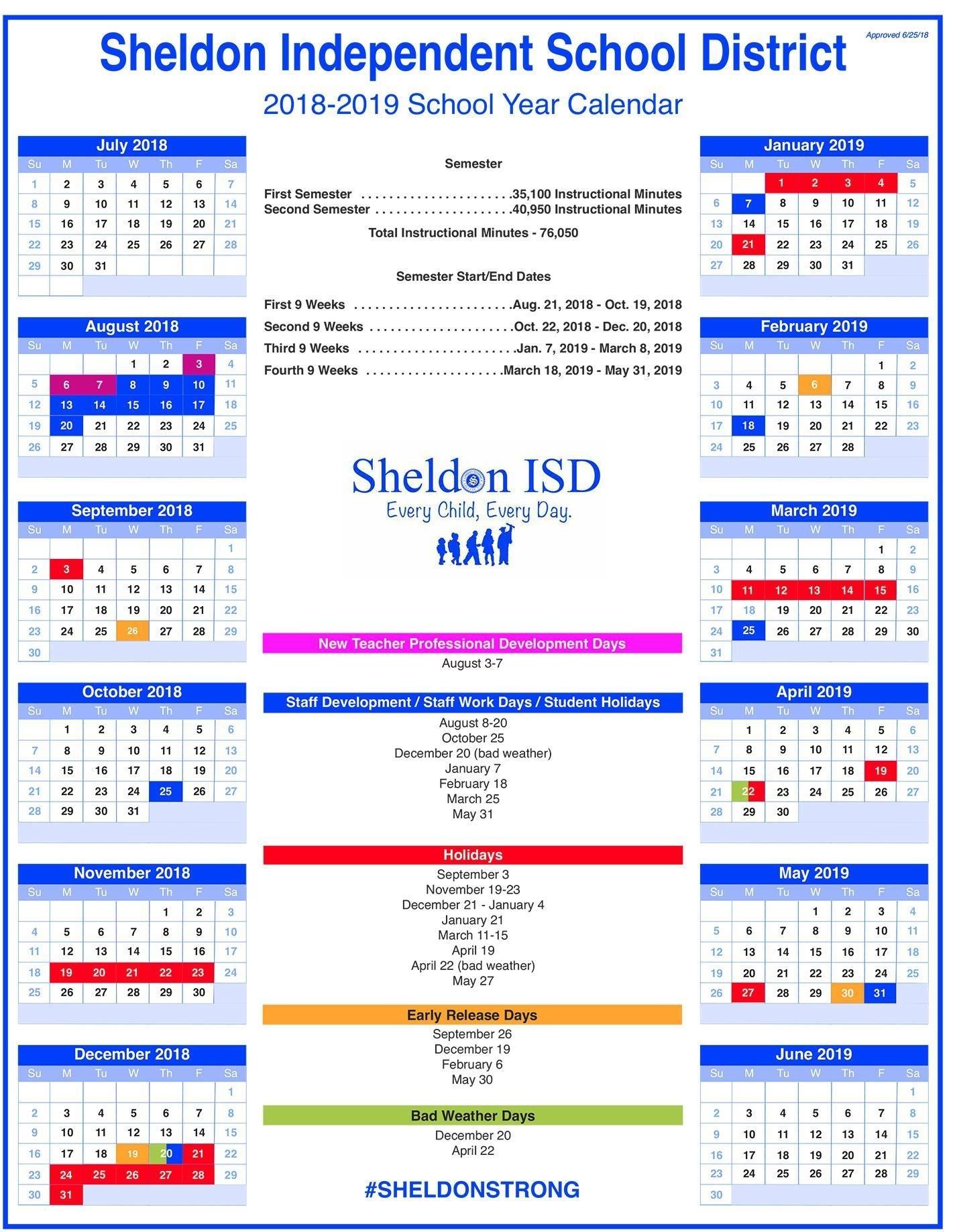 Sheldon Isd Remarkable Tri C School Calendar
