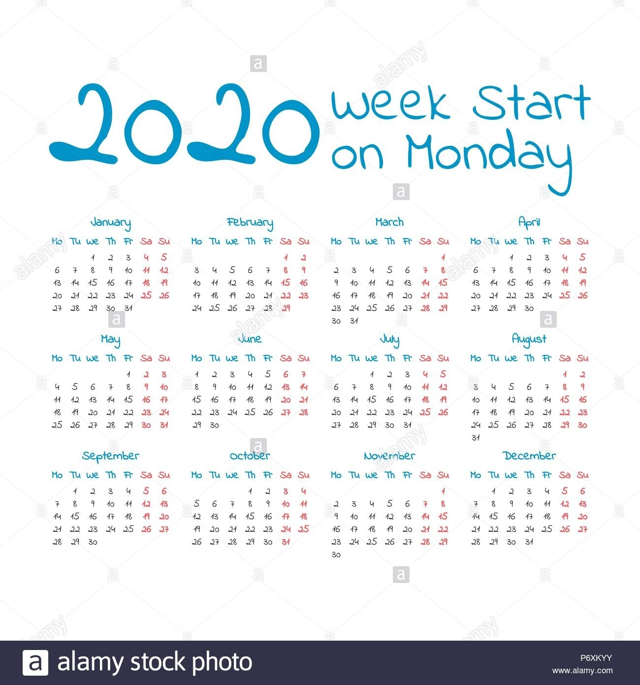 Simple 2020 Year Calendar, Week Starts On Monday Stock Vector Art 2020 Calendar Starting On Monday