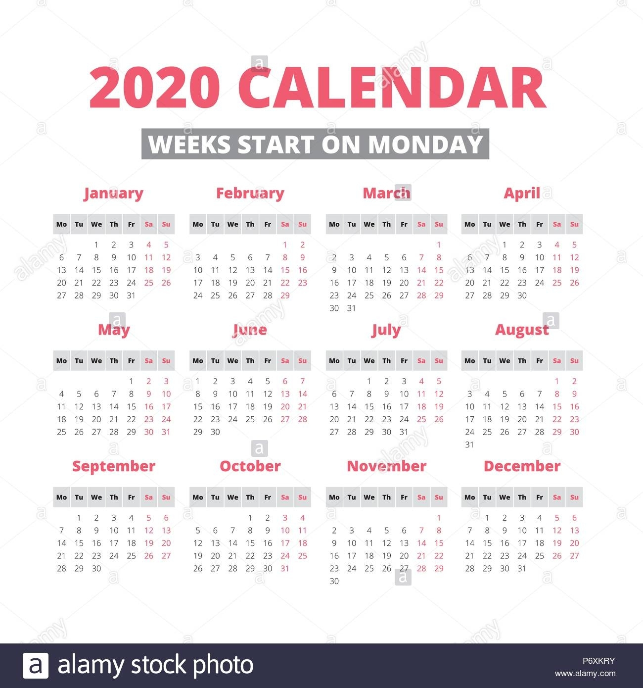 Simple 2020 Year Calendar, Week Starts On Monday Stock Vector Art Perky 2020 Calendar Starting On Monday