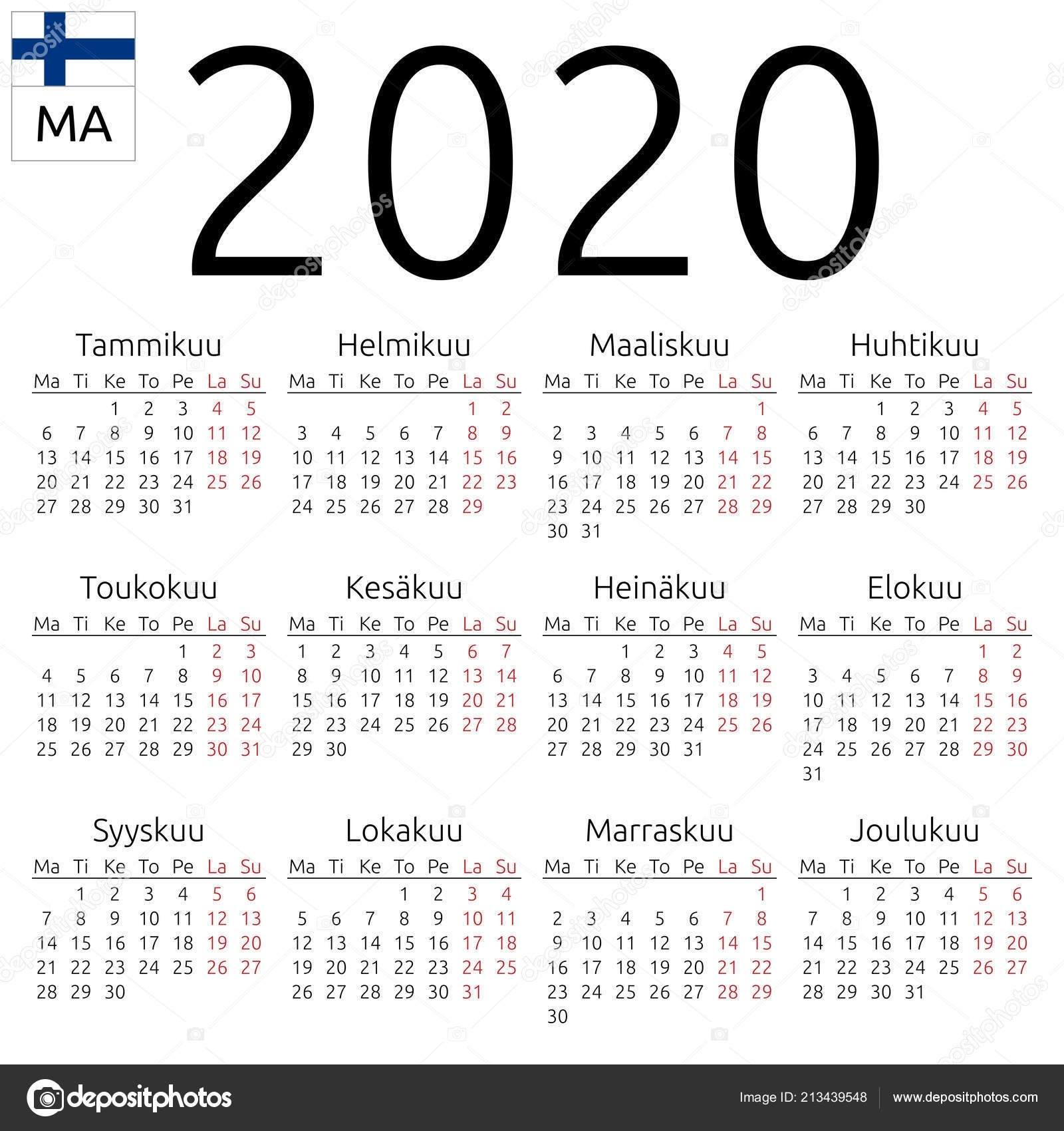 Simple Annual 2020 Year Wall Calendar Finnish Language Week Starts 2020 Calendar Starting On Monday