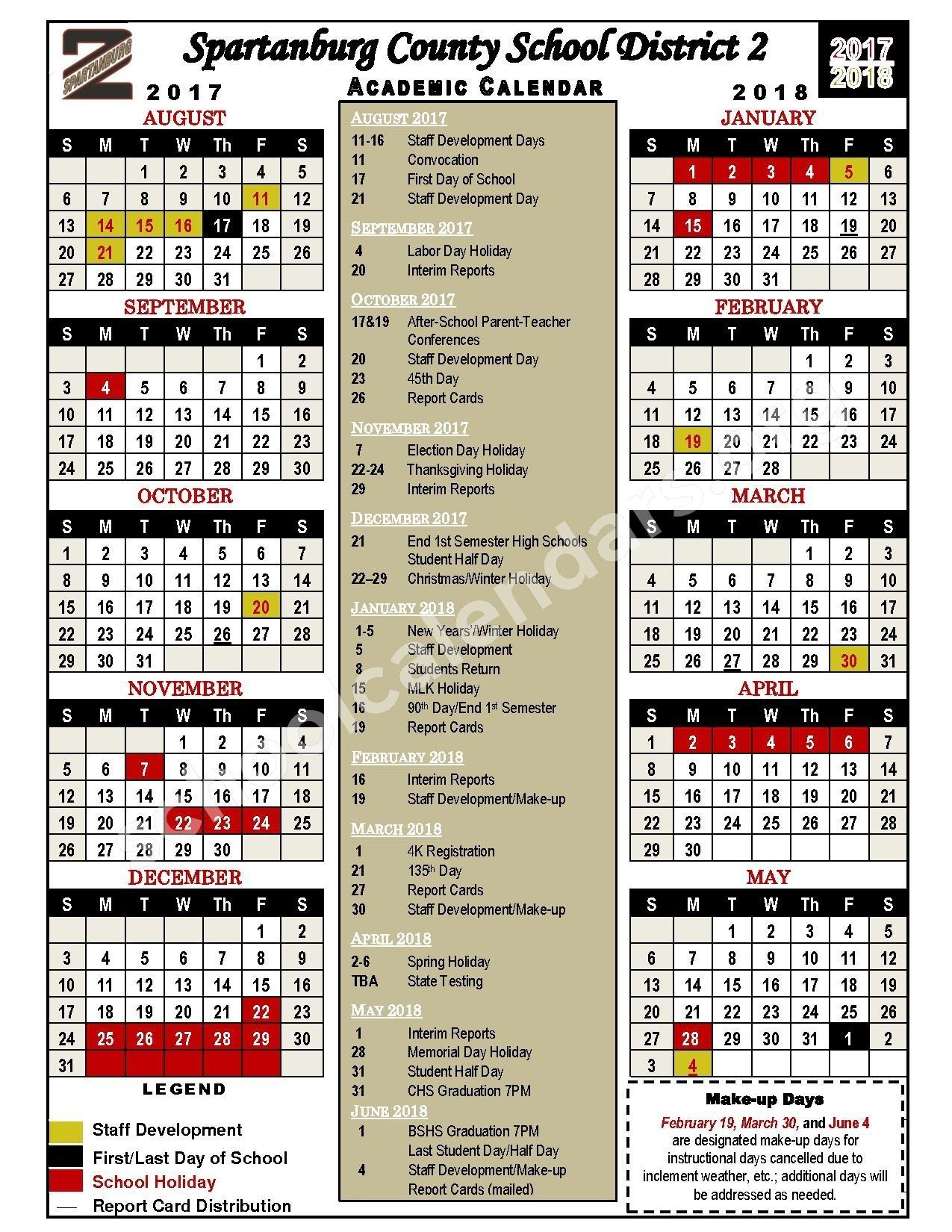 Spartanburg School District 2 Calendars – Chesnee, Sc School Calendar District 2