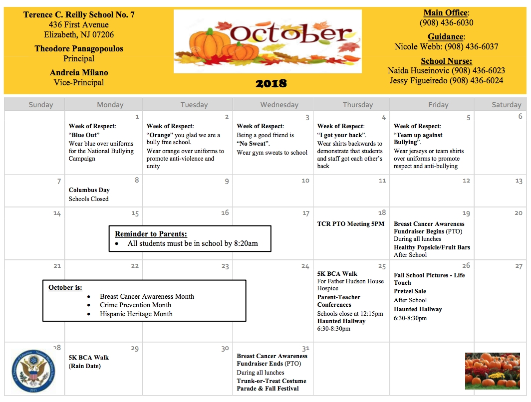 Terence C. Reilly No.7 / Homepage School Calendar Elizabeth Nj