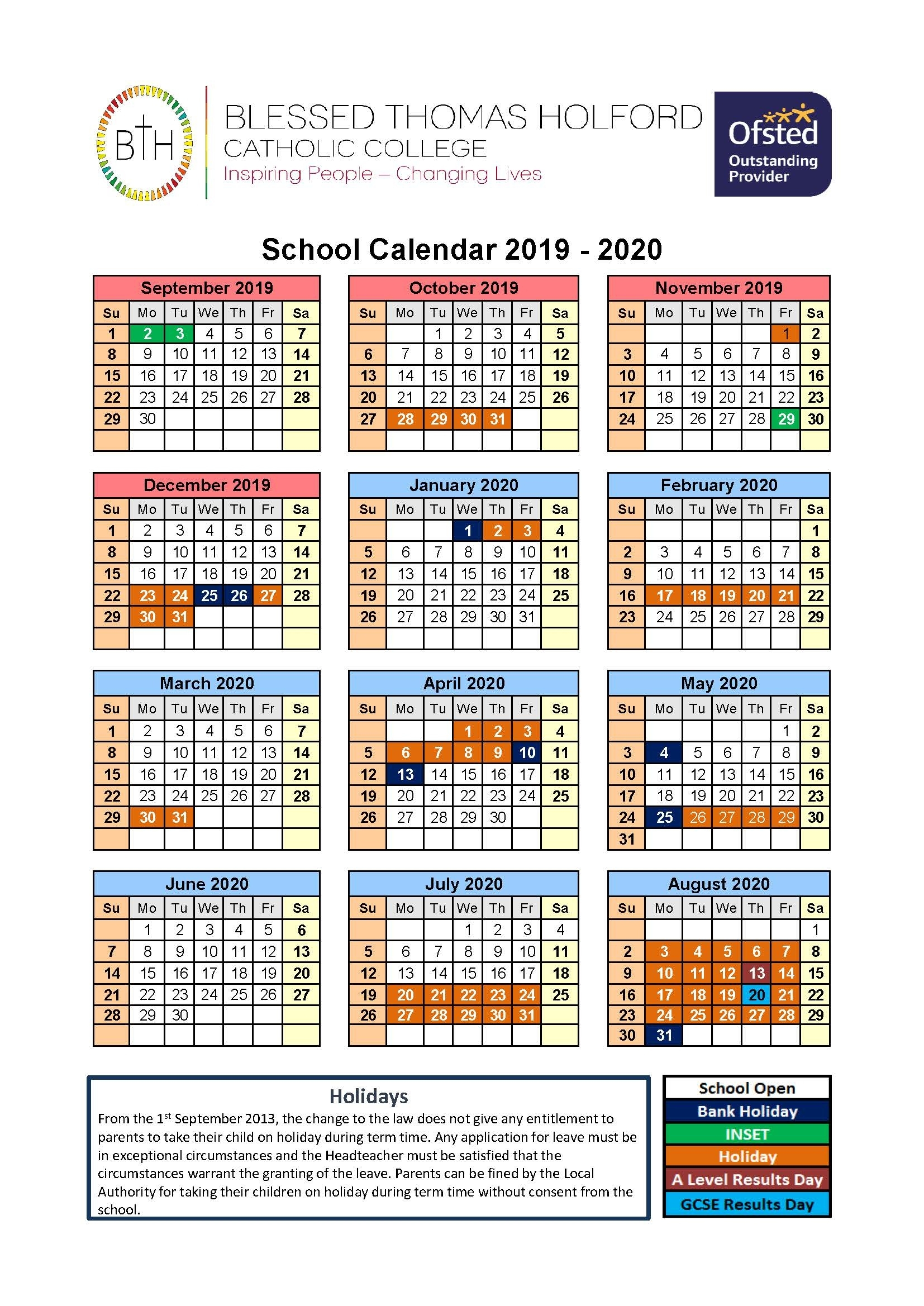 Term Dates - Blessed Thomas Holford Catholic College Teaching School 2020 Calendar School Holidays