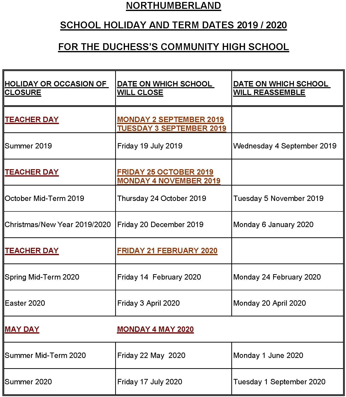 Term Dates :: The Duchess's Community High School Impressive Easter 2020 Calendar Date