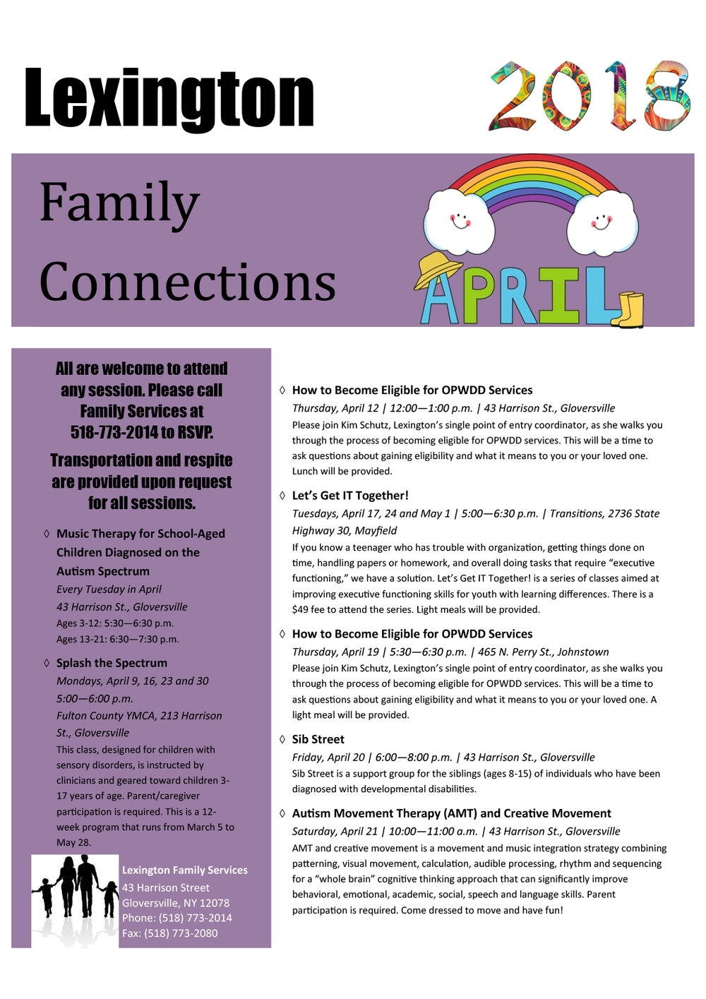 The April Family Connections Calendar Is Here! — Lexington, A Lexington 1 School Calendar