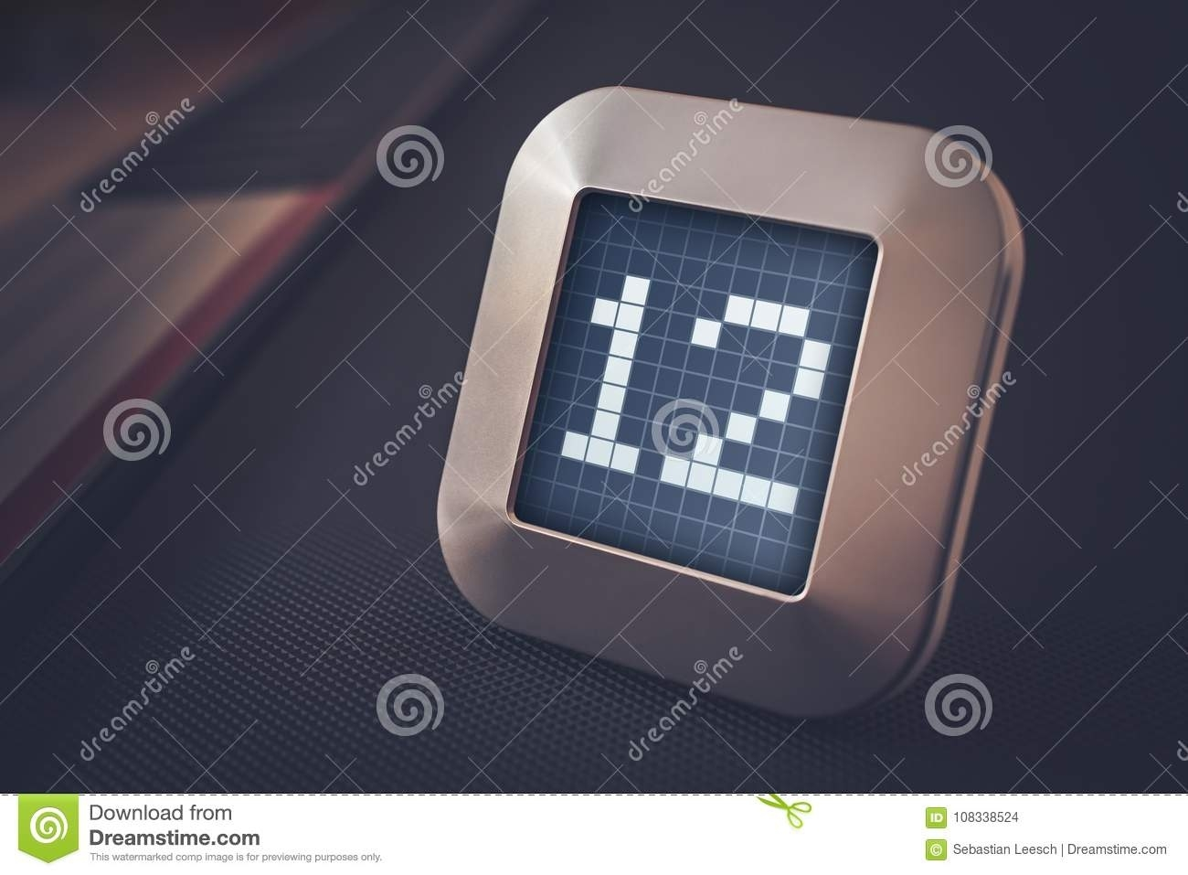 The Number 12 On A Digital Calendar, Thermostat Or Timer Stock Photo Calendar And Countdown Chrome