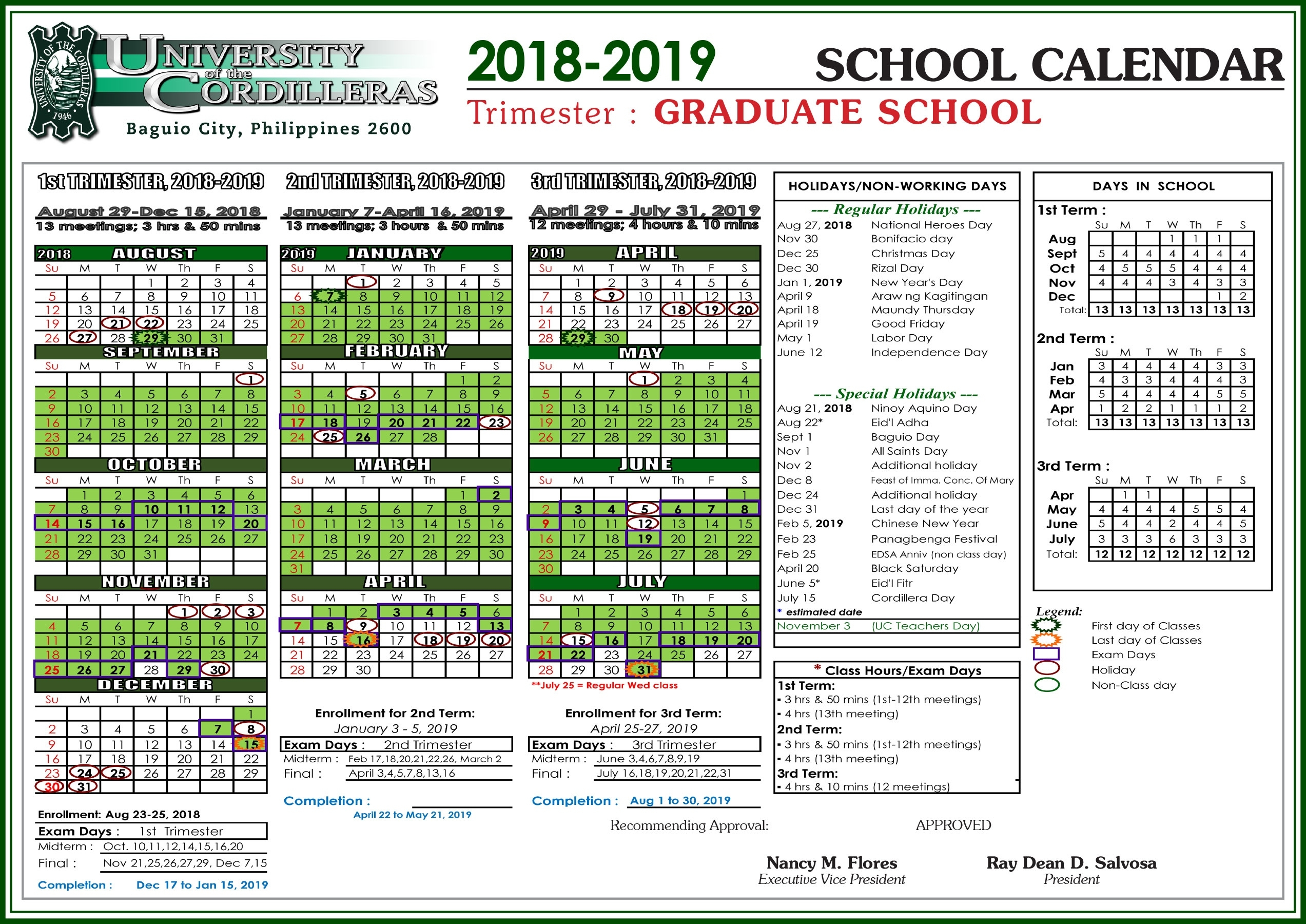 Uc School Calendar For Sy 2018-2019 - University Of The Cordilleras Tri C School Calendar