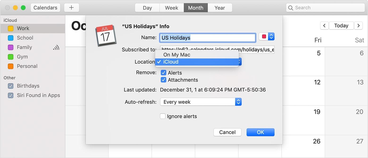 Use Icloud Calendar Subscriptions - Apple Support Apple Calendar Remove Holidays