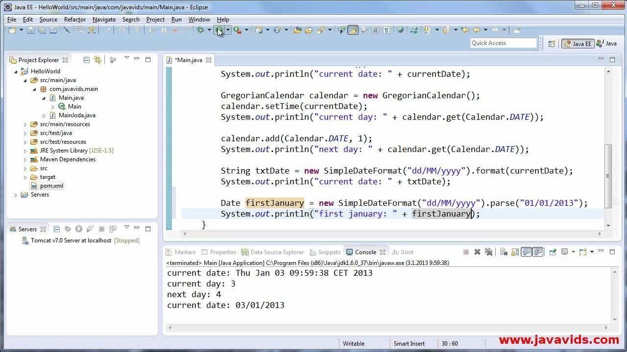 Using Date, Calendar And Simpledateformat In Java : Javavids - Youtube Java Calendar Last Week Of Month
