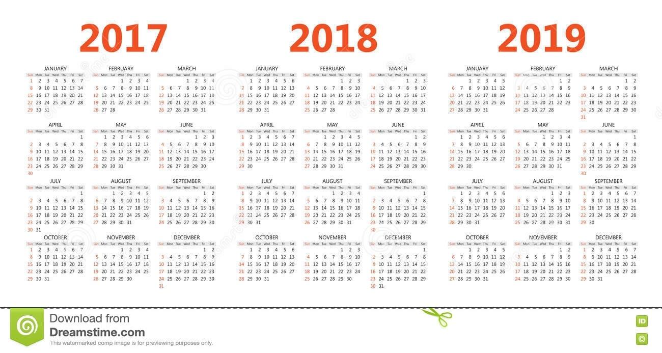 Vector Calendar Templates 2017, 2018, 2019 Stock Vector 8.5 X 14 Calendar Template