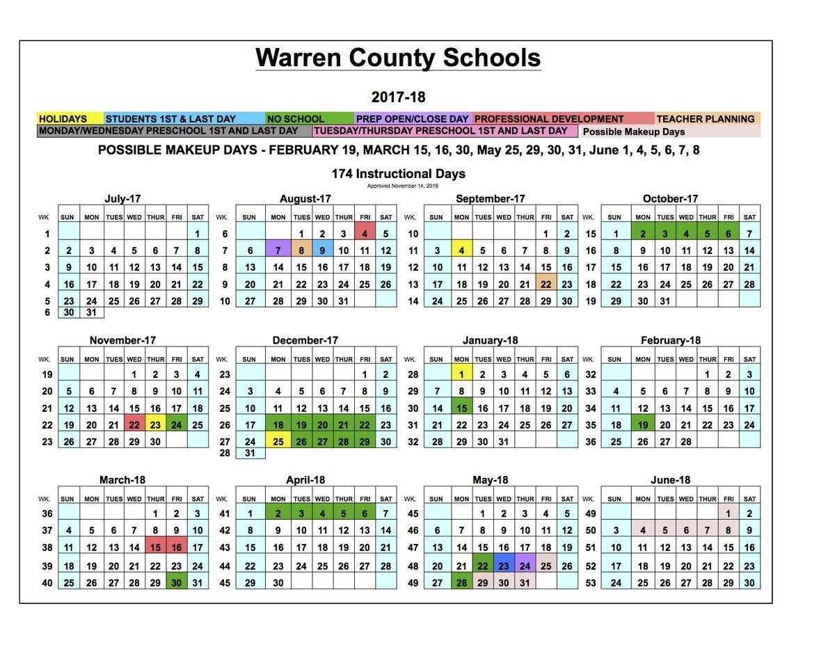 """Warren Co Schools On Twitter: """"board Approves 2017-18 School Extraordinary School Calendar Warren County Ky"""