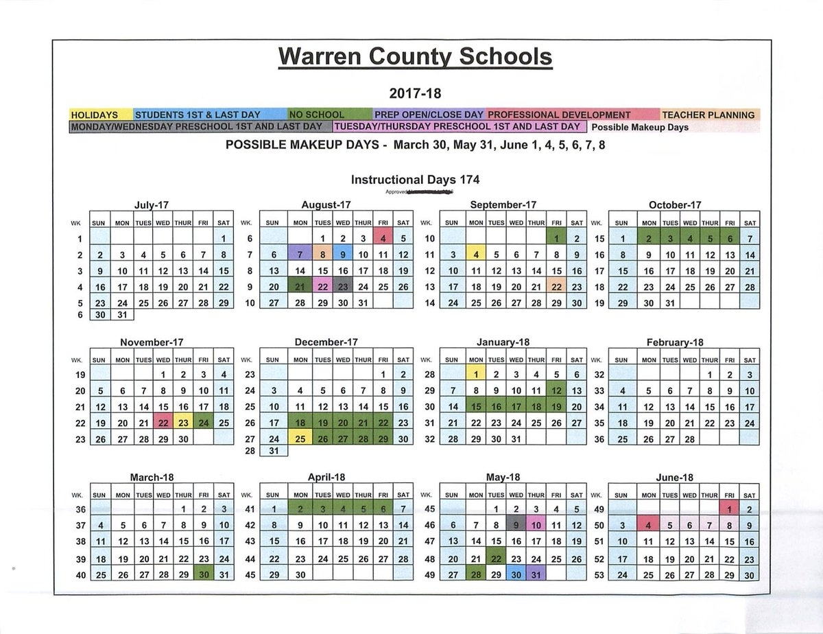 """Warren Co Schools On Twitter: """"board Approves Revised School Extraordinary School Calendar Warren County Ky"""