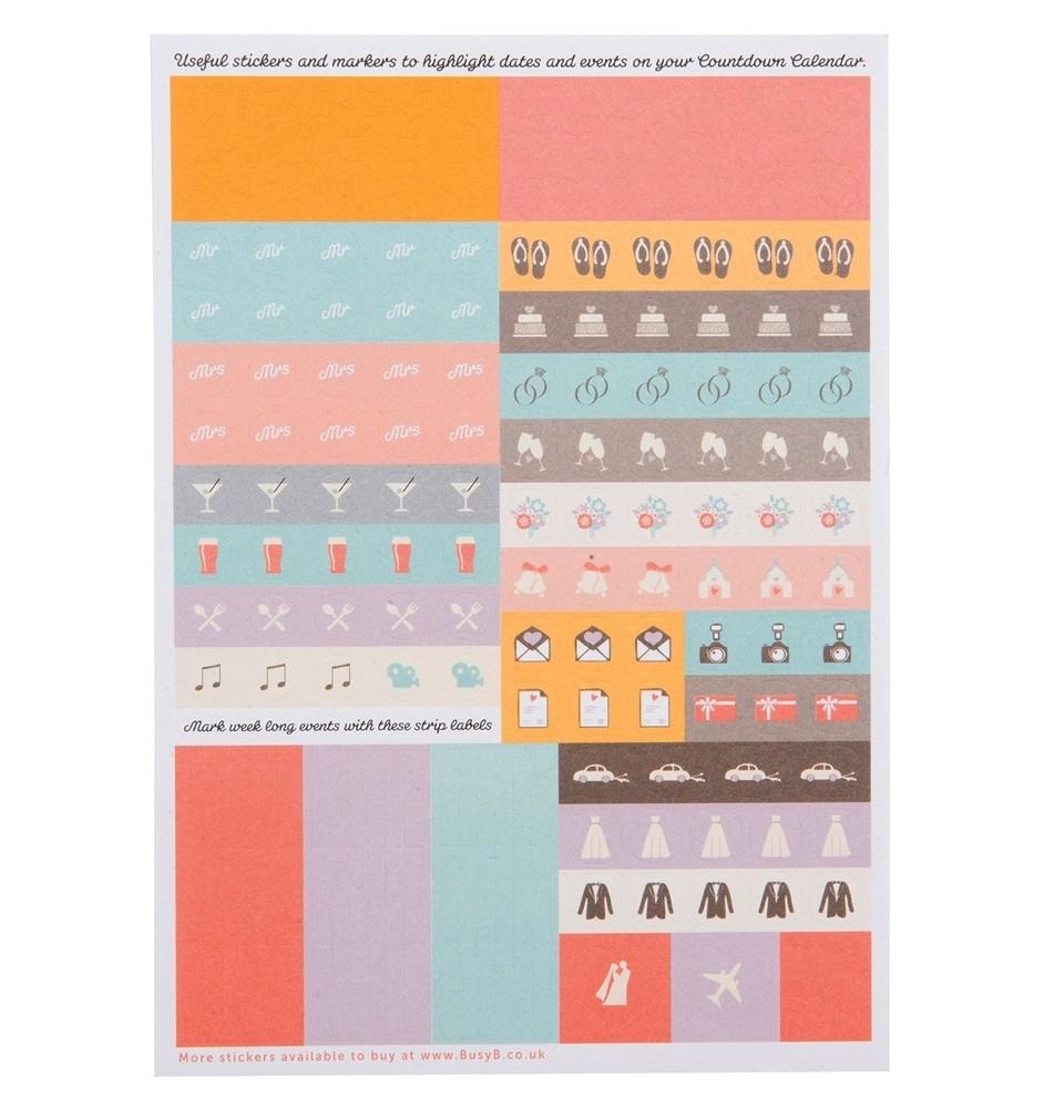 Wedding Countdown Calendar Sticker Refill X5 | Busy B | Busy B Wedding Countdown Calendar Uk