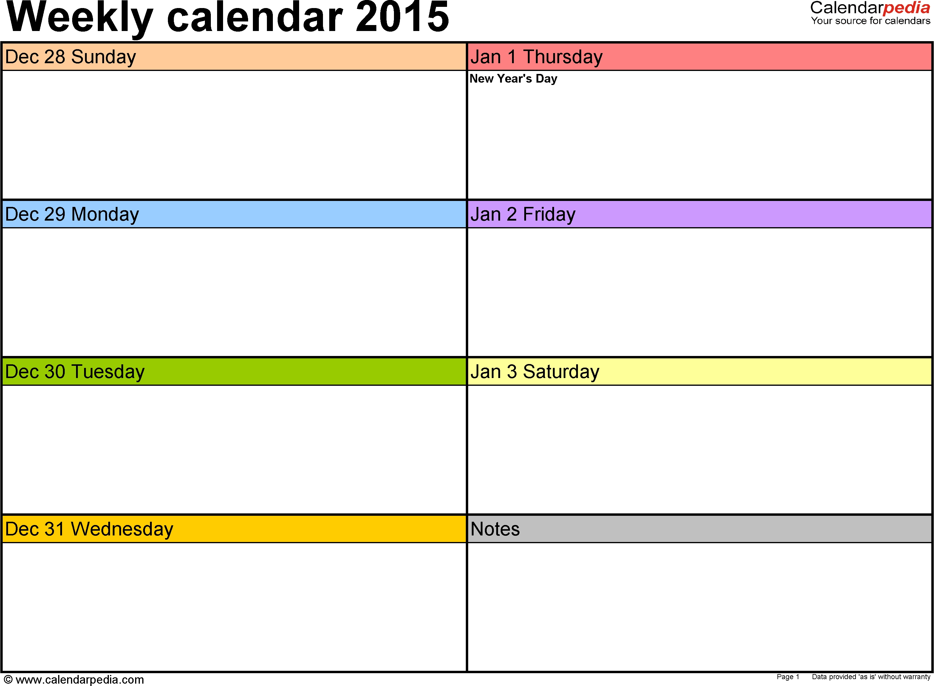 Weekly Calendar 2015 For Excel - 12 Free Printable Templates Free Printable 2 Week Calendar Template