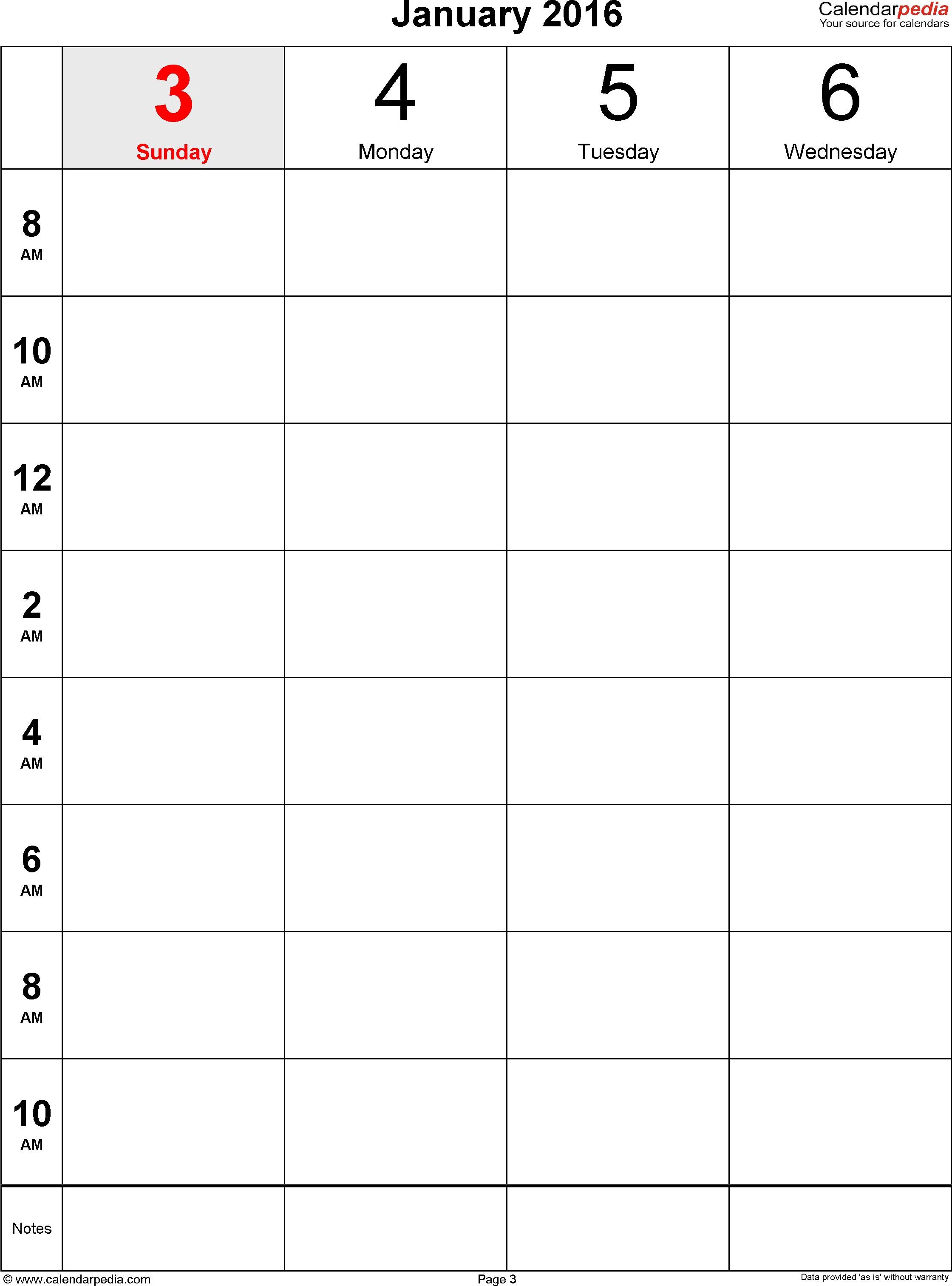 Weekly Calendar 2016 For Word - 12 Free Printable Templates Calendar Template 8.5 X 11