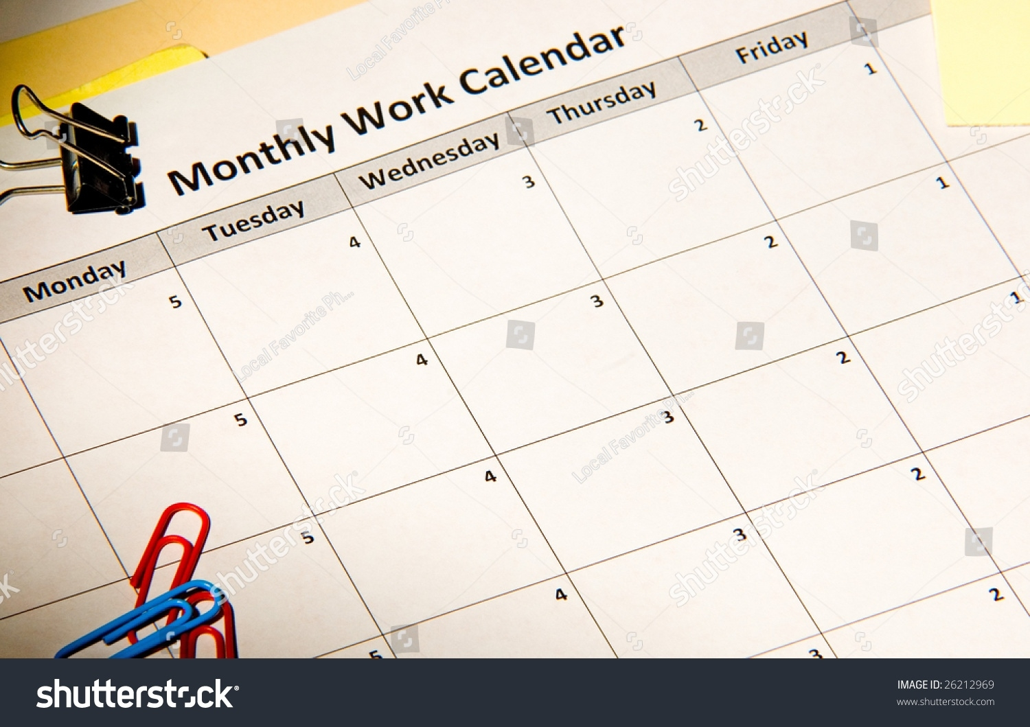 Work Week Countdown Calendar Stock Photo (Edit Now) 26212969 Countdown Calendar In Weeks