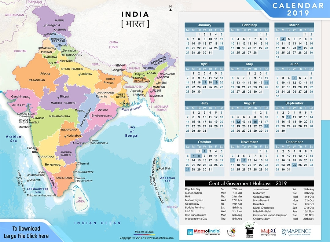 Year 2019 Calendar, Public Holidays In India In 2019 2020 Calendar India Holidays