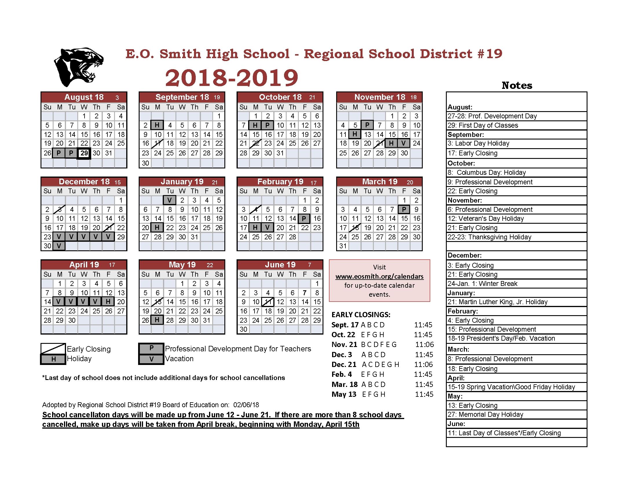 Year At A Glance - Edwin O. Smith High School Region 6 School Calendar