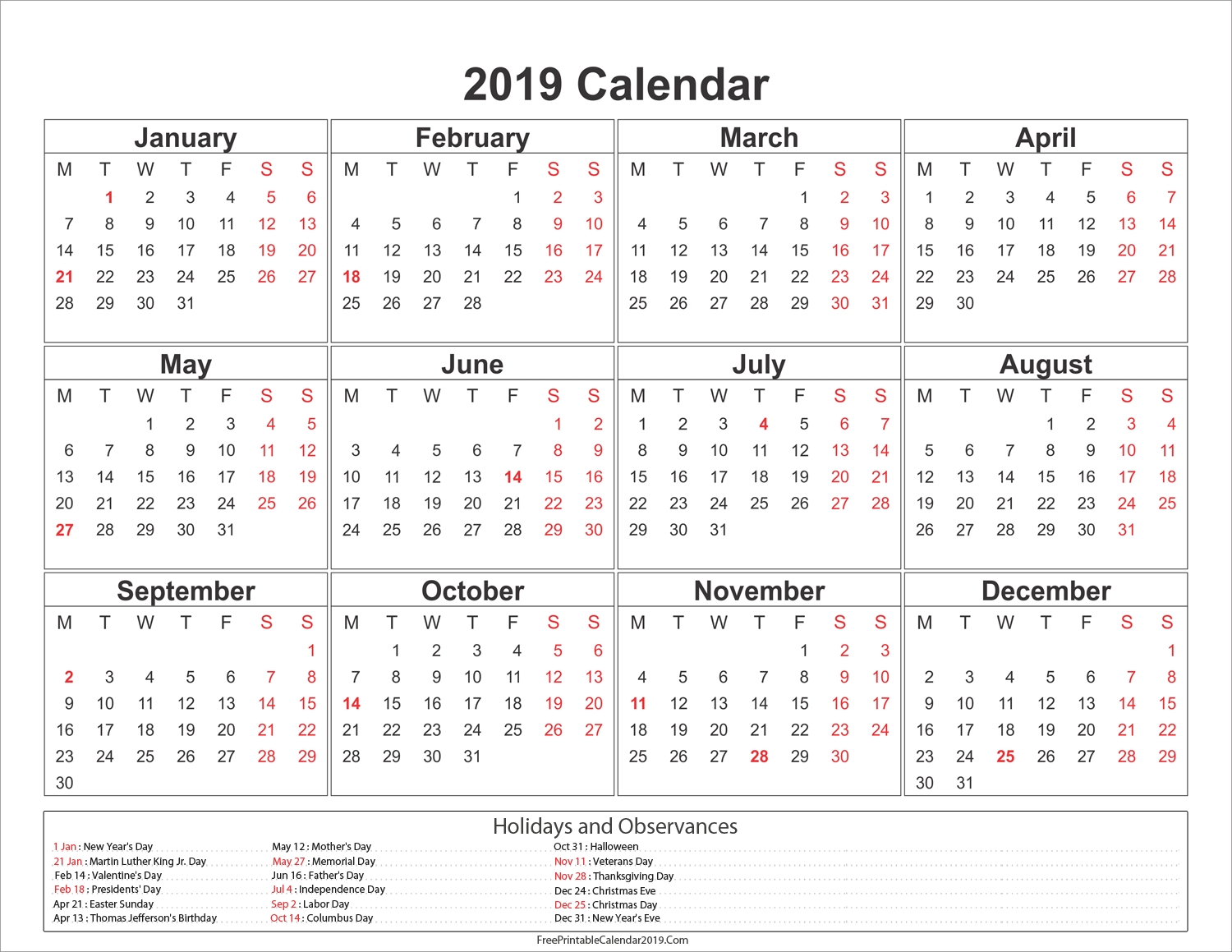 Yearly 2019 Calendar With Holidays #2019Calendar #2019Holidays #usa 3 Month Calendar Uk