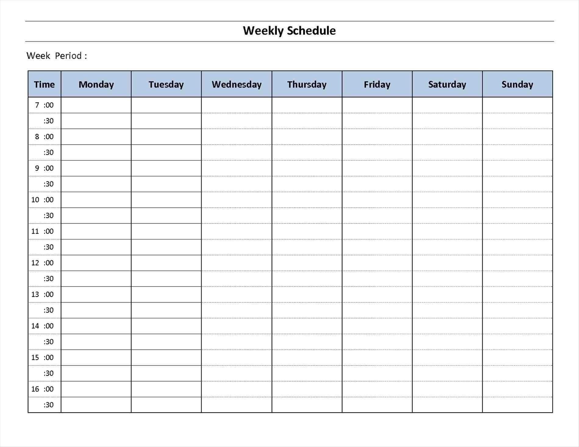 005 20Day Week Calendar Printable Template Weekly20Dule Work Excel 7 Day Hourly Calendar Template