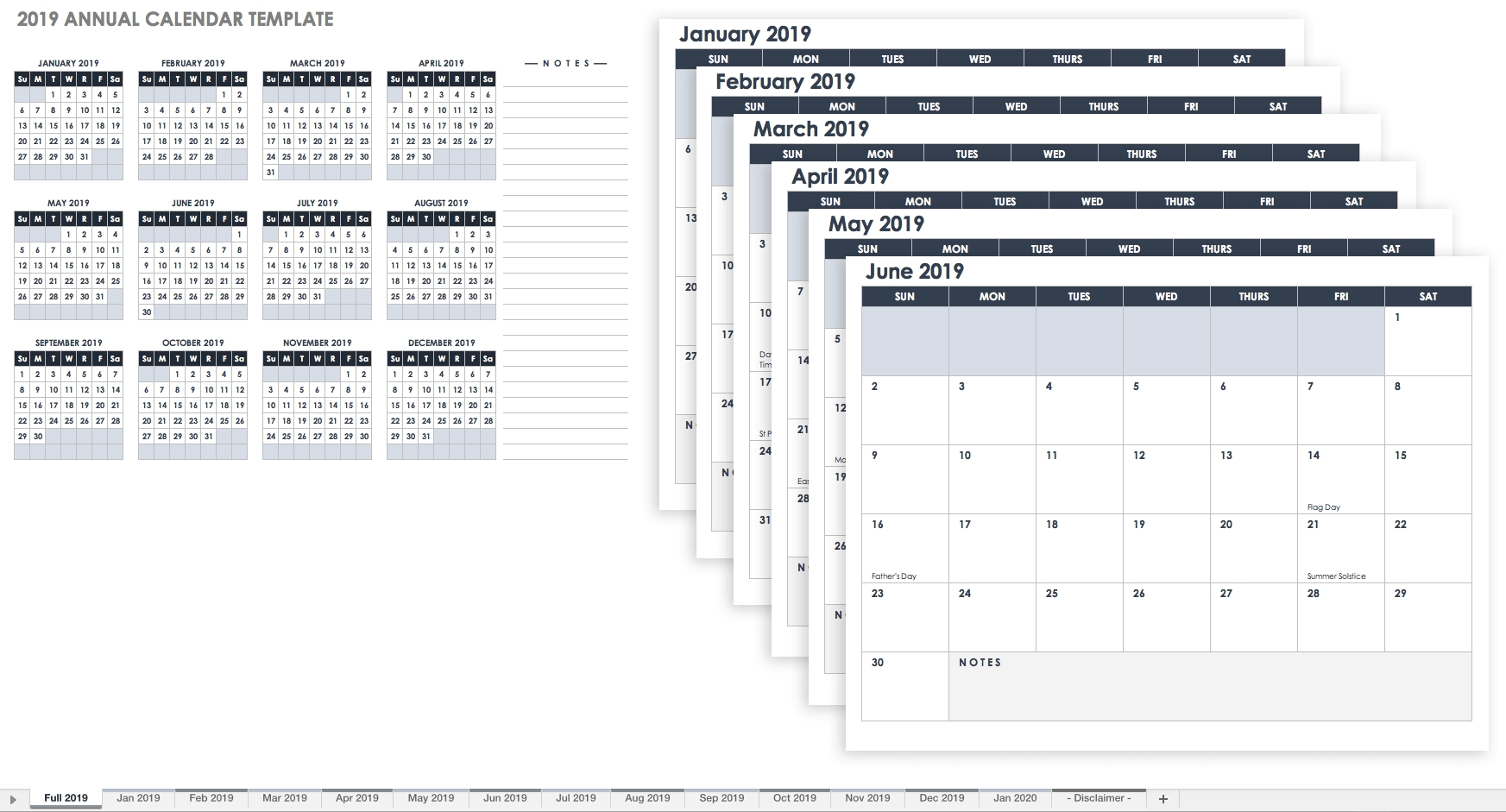 15 Free Monthly Calendar Templates | Smartsheet Calendar Template To Add Notes