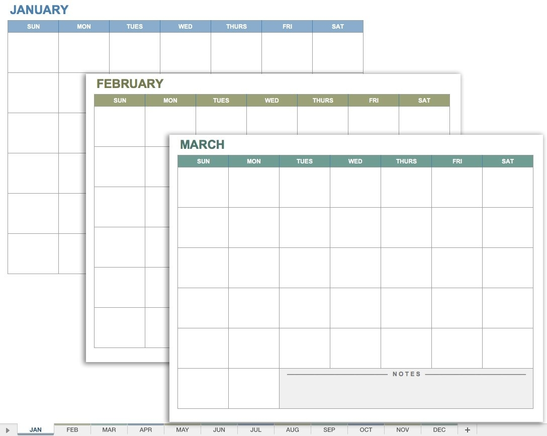 15 Free Monthly Calendar Templates | Smartsheet Calendar Template With Room For Notes