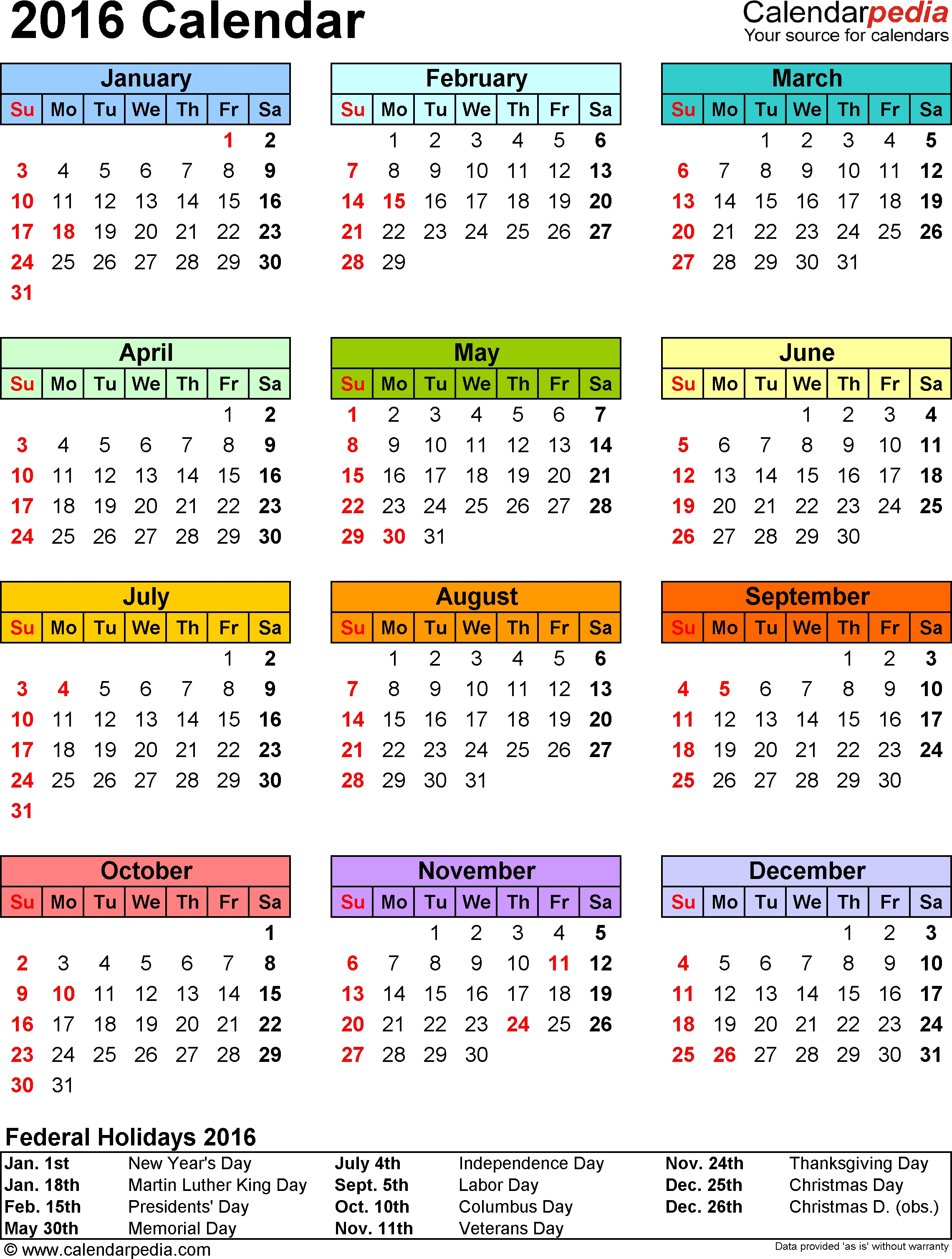 2016 Calendar With Federal Holidays & Excel/pdf/word Templates Year Calendar With Holidays