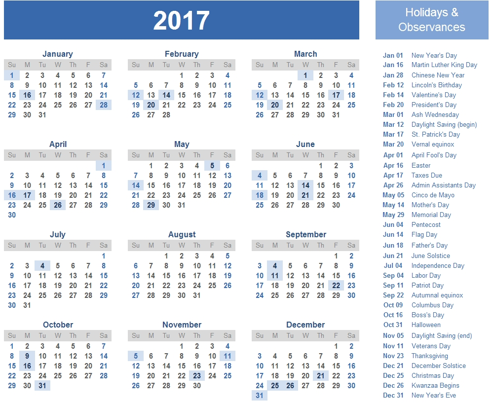 2017 Calendar With Holidays [Us, Uk, Canada] | Free Printable Calendar Holidays In Uk