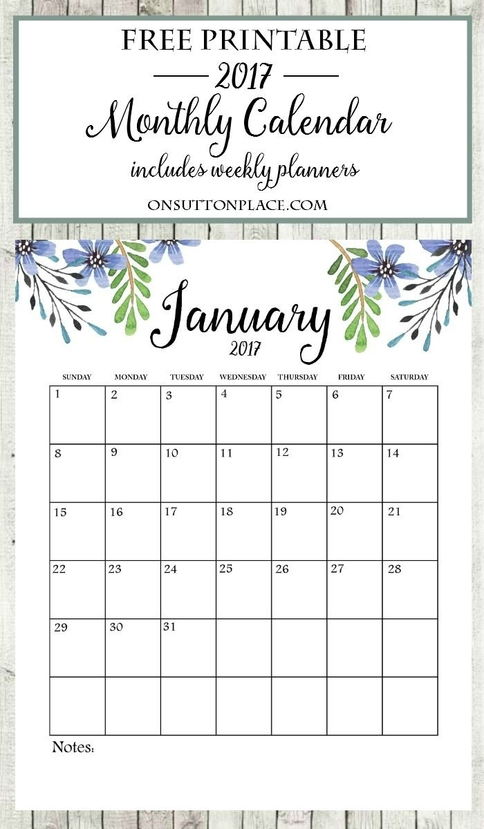 2017 Free Printable Monthly Calendar | Bloggers' Best Diy Ideas Calendar Month At A Glance Printable