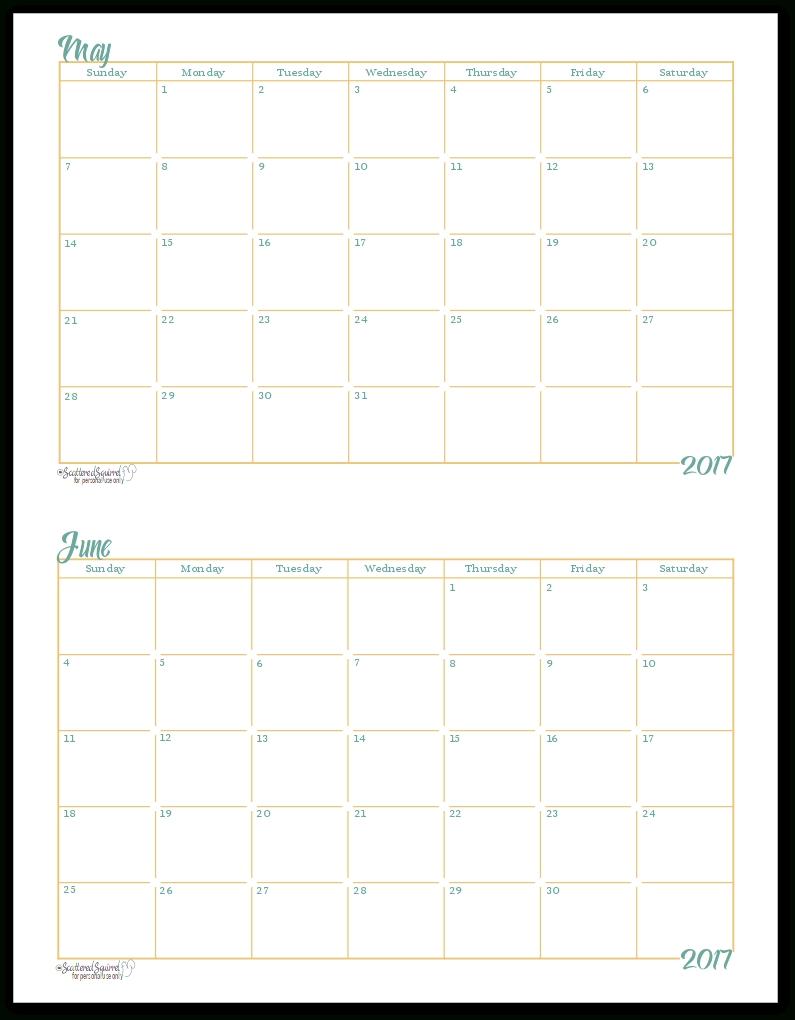 2017 Half-Size Monthly Calendar Printables 5 X 8 Calendar Template
